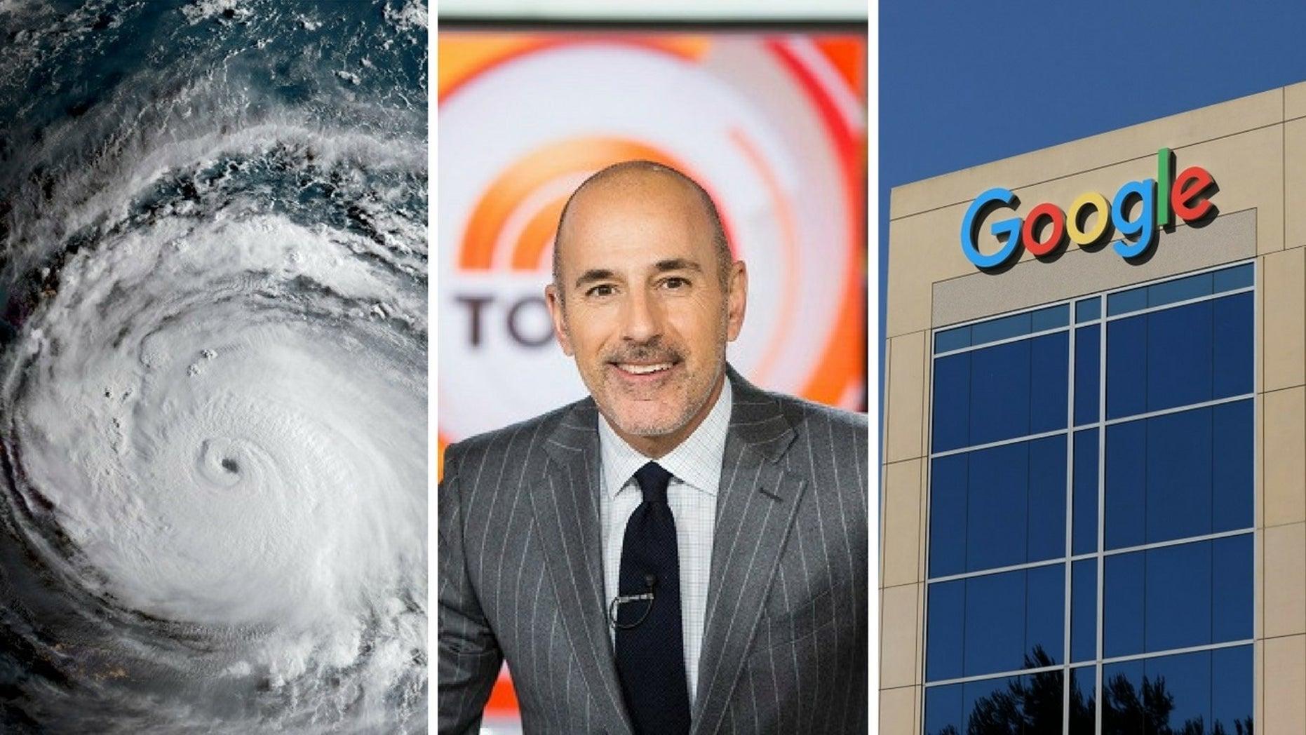 Google revealed Matt Lauer and Hurricane Irma were 2017's top searches.
