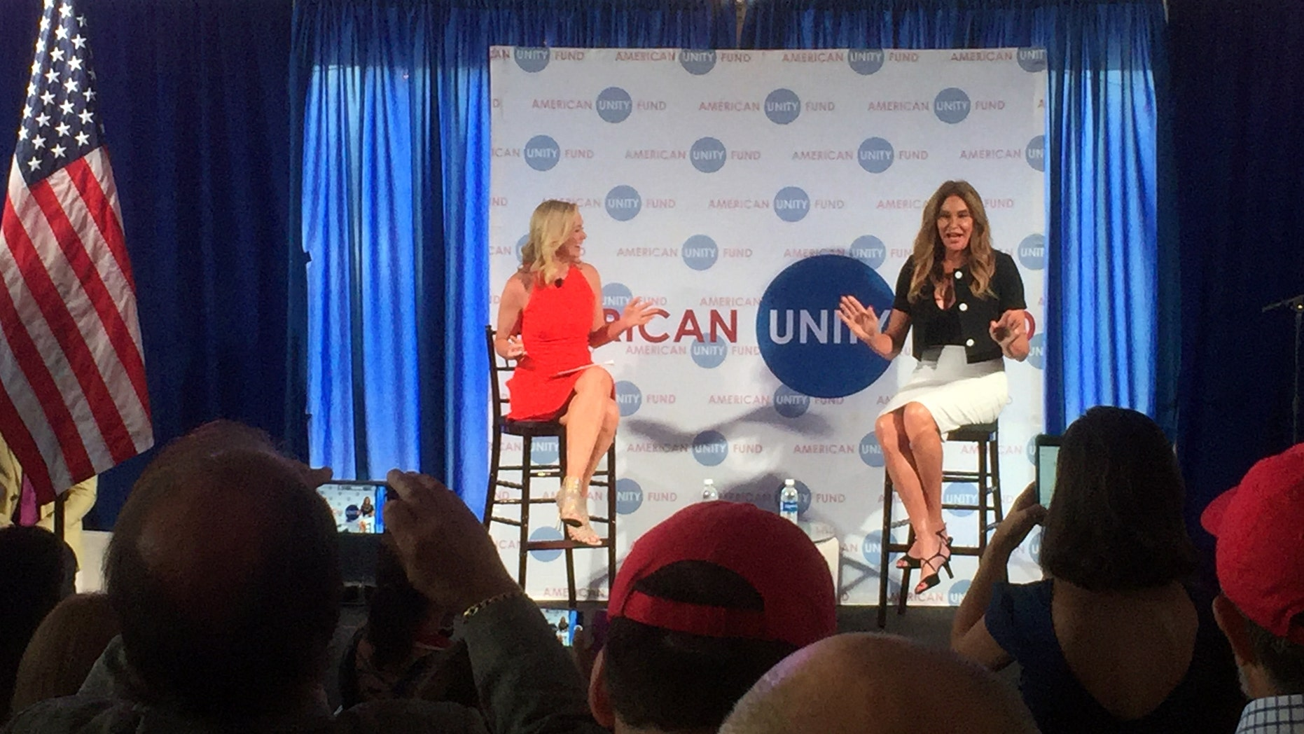 July 20, 2016: Caitlyn Jenner, right, speaks at an American Unity Fund brunch at the Rock and Roll Hall of Fame in Cleveland on the sidelines of the Republican National Convention.