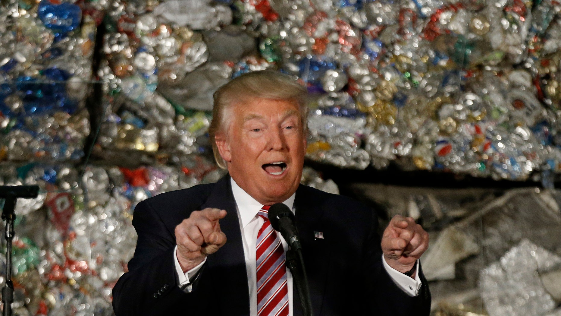 June 28, 2016: Republican presidential candidate Donald Trump speaks during a campaign stop at Alumisource, a metals recycling facility in Monessen, Pa.
