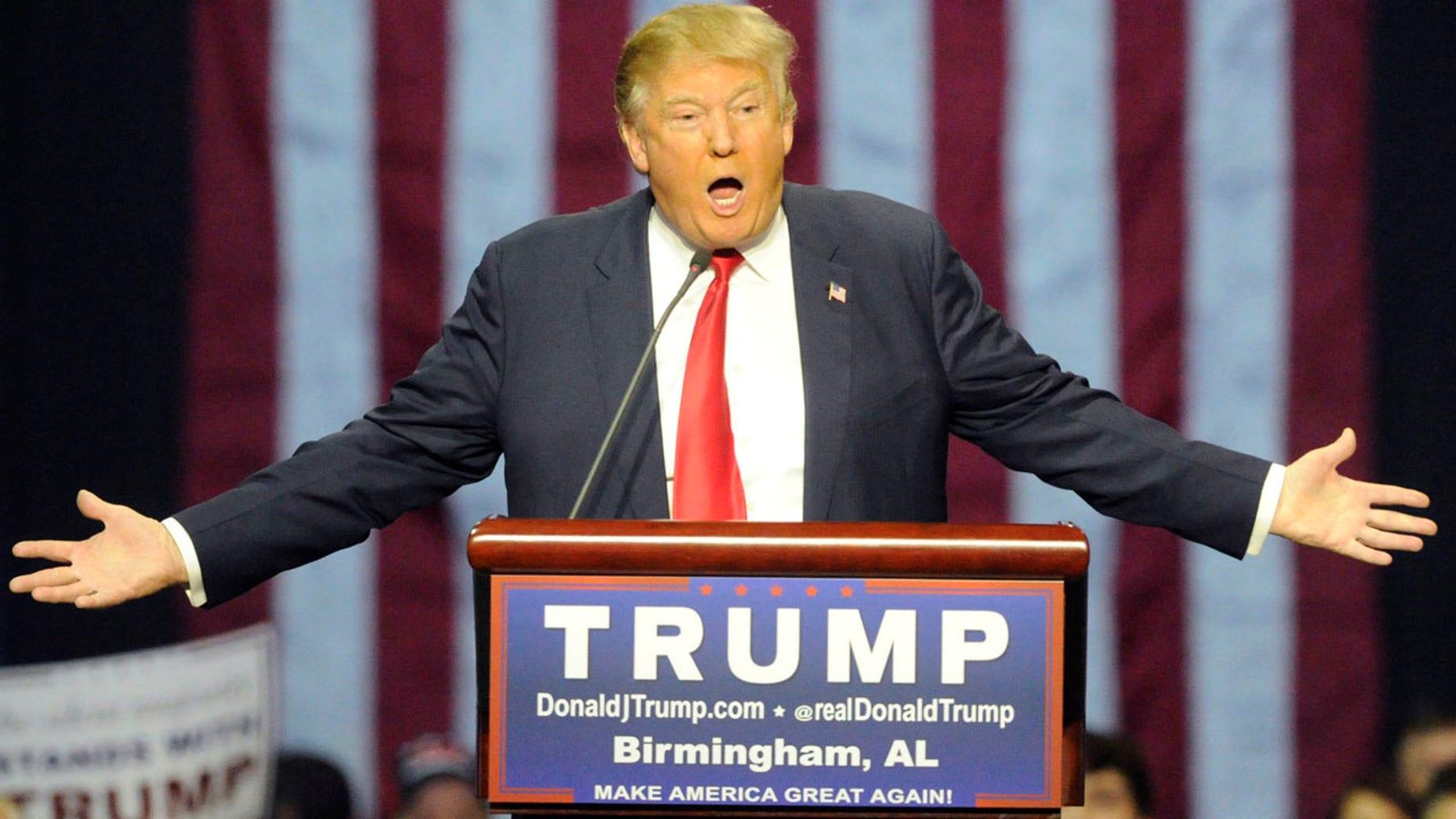 Nov. 21, 2015: Republican presidential candidate Donald Trump speaks during a campaign stop in Birmingham, Ala. (AP Photo/Eric Schultz)