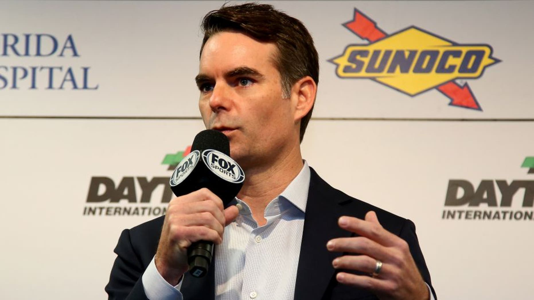 DAYTONA BEACH, FL - FEBRUARY 18: Jeff Gordon speaks to the media during a press conference during practice for the NASCAR Sprint Cup Series Daytona 500 at Daytona International Speedway on February 18, 2016 in Daytona Beach, Florida. (Photo by Sarah Crabill/NASCAR via Getty Images)