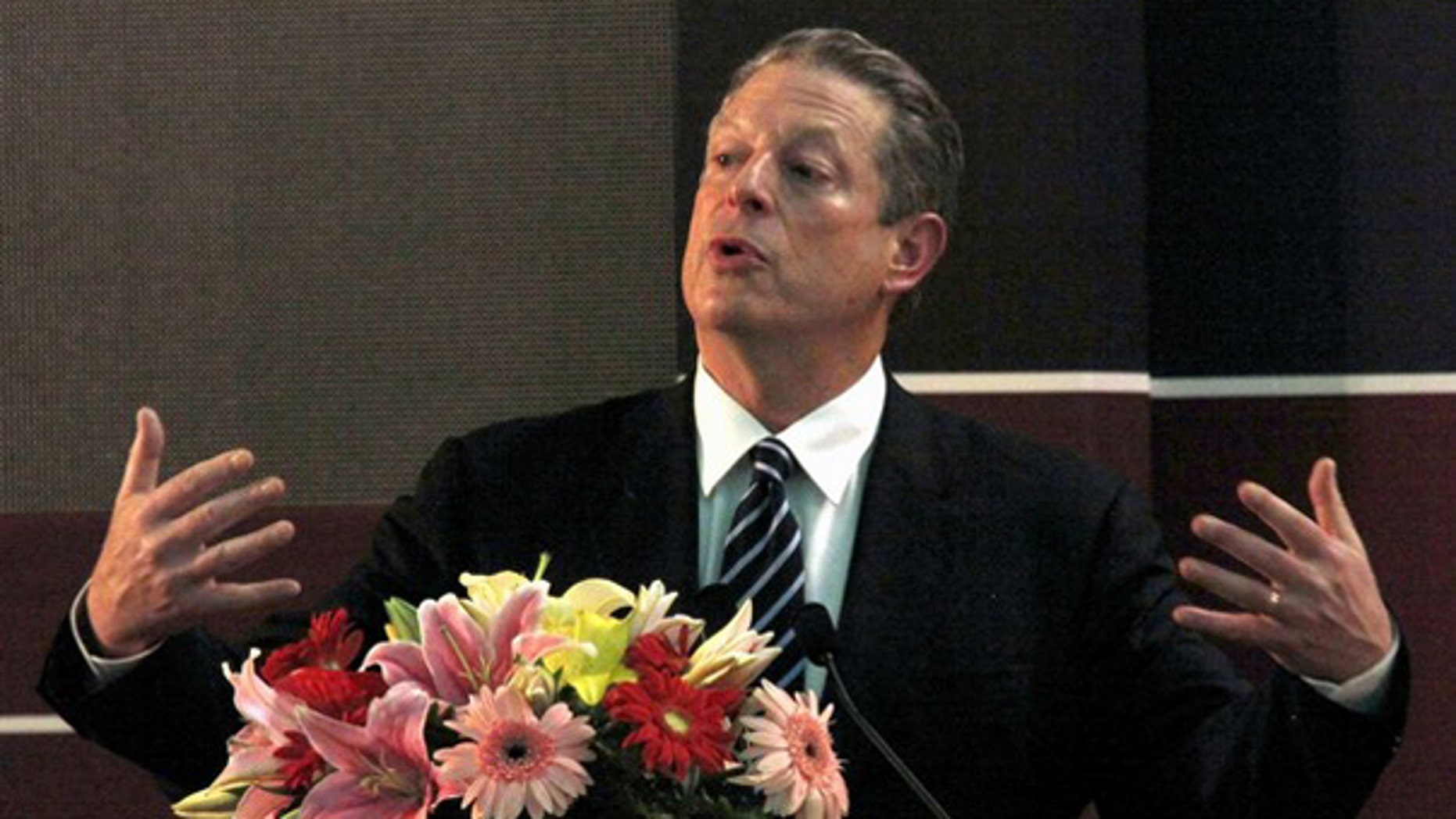 Former Vice President Al Gore speaks at the U.S.-China Strategic Forum on Clean Energy Cooperation in Beijing Oct. 21. (Reuters Photo)