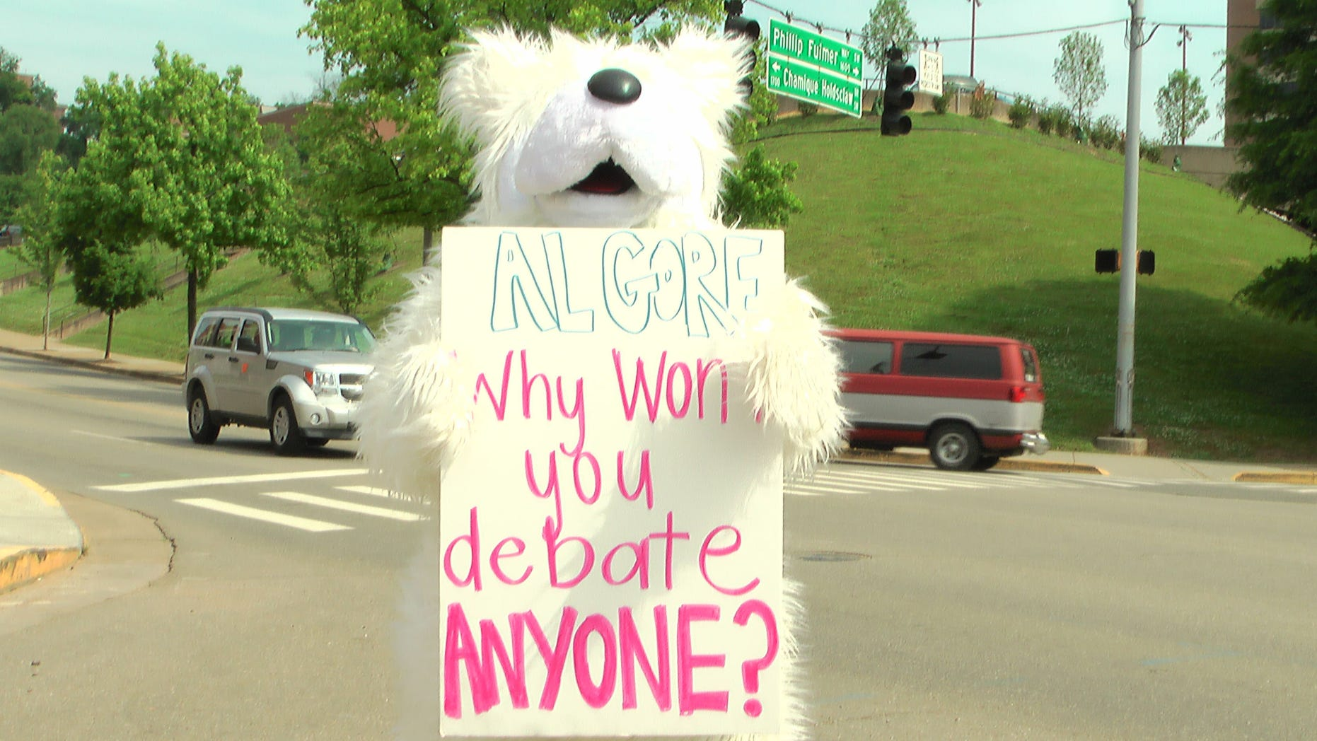 Friday: Global warming skeptic and filmmaker Phelim McAleer, dressed as a polar bear, protested Al Gore's honorary degree at the University of Tennessee commencement address (Greener Horizon Films, Ltd.)