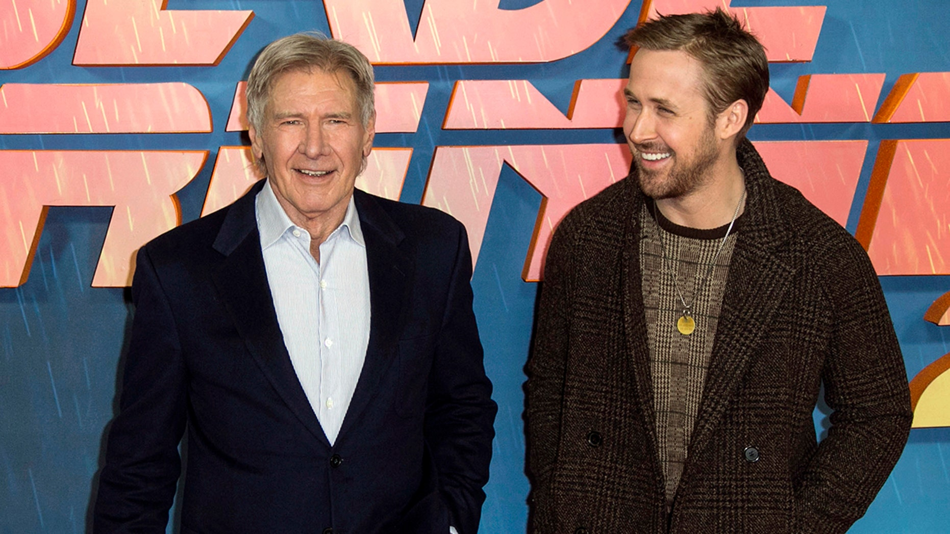 "Harrison Ford (left) and Ryan Gosling (right) fell apart while promoting their new film ""Blade Runner 2049."""