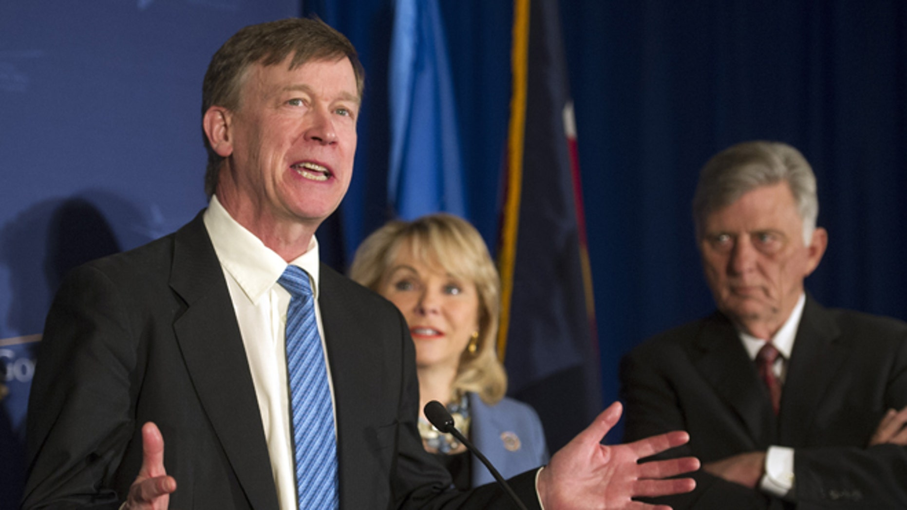Feb. 22, 2014: Colorado Gov. John Hickenlooper, left, with Arkansas Gov. Mike Beebe, right, and Oklahoma Gov. Mary Fallin at an NGA's meeting in Washington, D.C.
