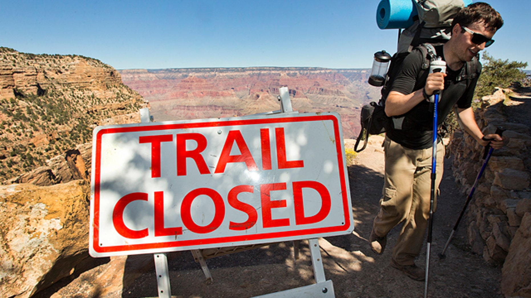 Oct. 1, 2013: Sebastian Ramirez of Austin hikes out of the Bright Angel Trail in Grand Canyon National Park.  Beginning at 6 am, visitors were told the park was closed and they could not visit.