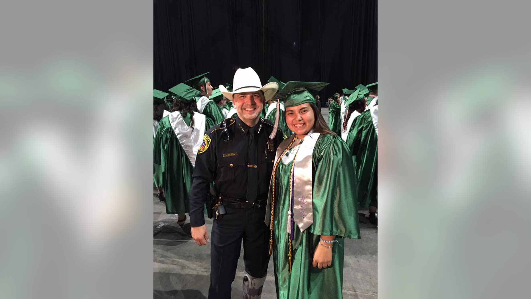 Gloria Garza's father died in the line of duty when she was 3-years-old.