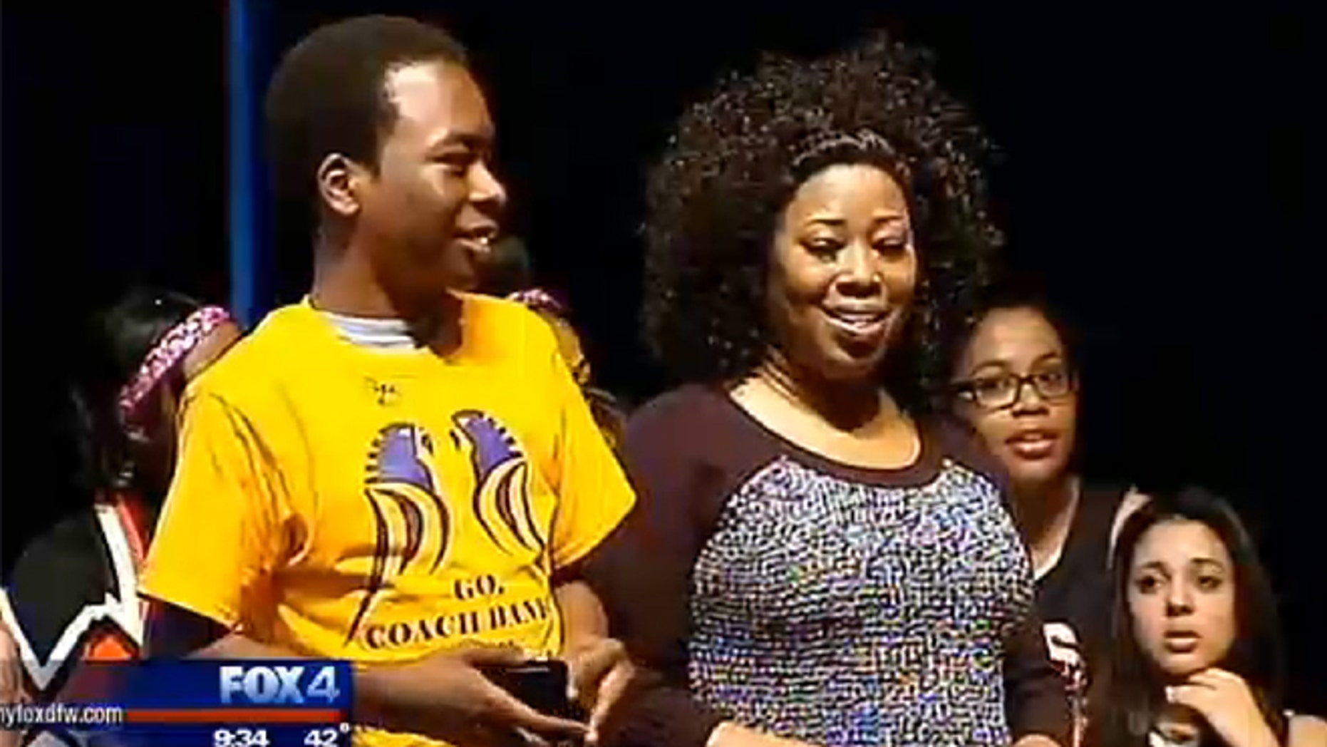 Banks Graham, 16, and his mother Edna listen to a special message from Kobe Bryant.