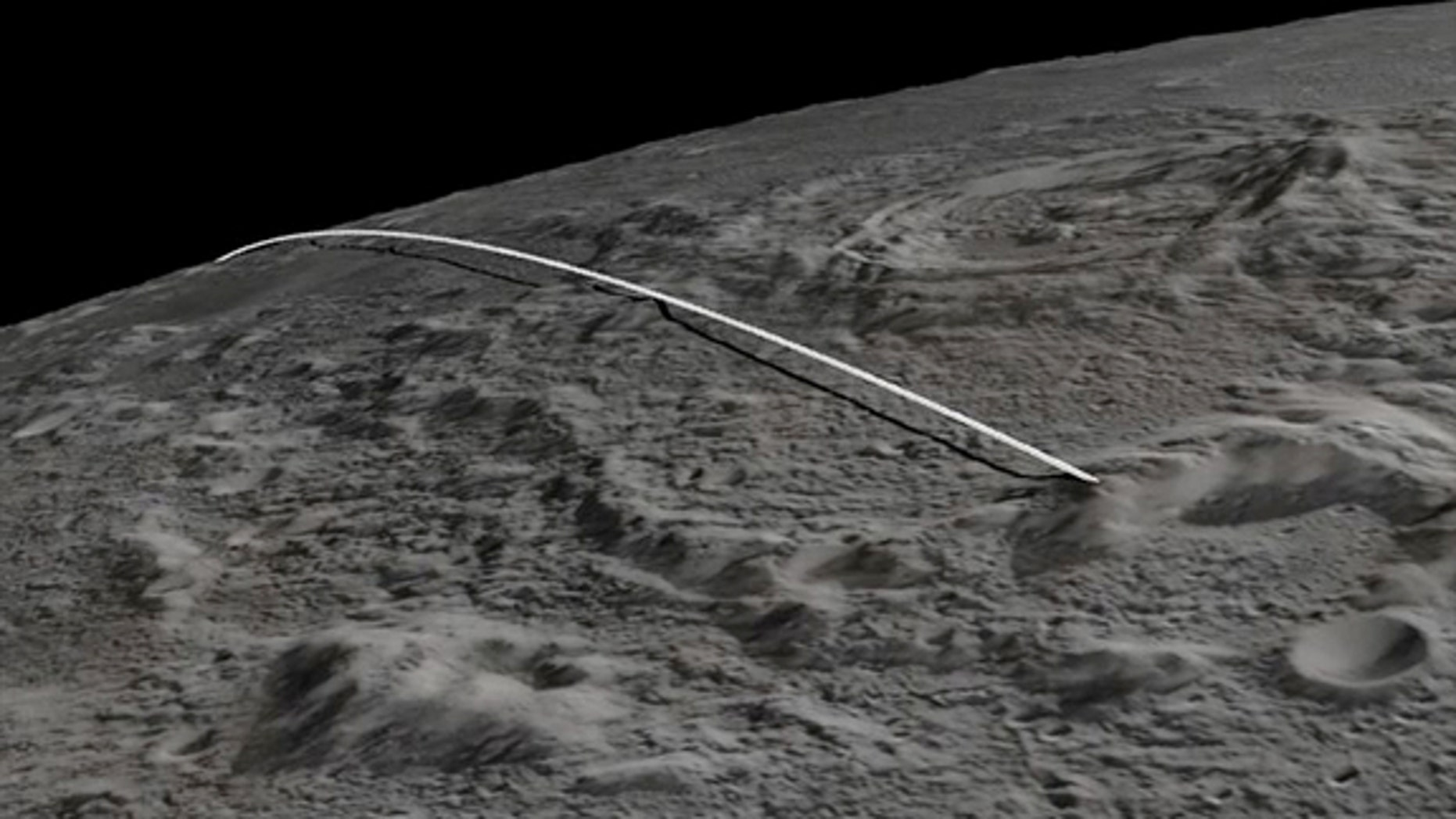 "Final flight path for NASA's twin gravity-mapping Grail probes, ""Ebb"" and ""Flow,"" which impacted the moon on Dec. 17, 2012"