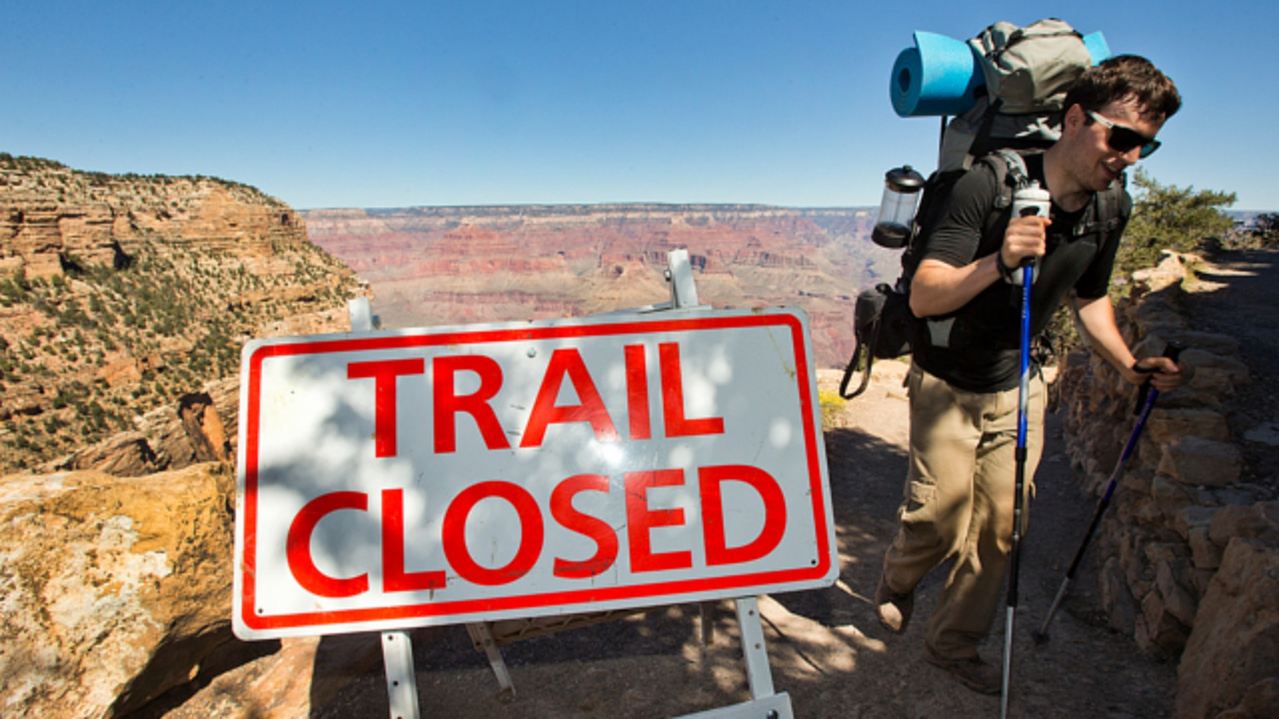Oct. 1, 2013: Sebastian Ramirez, 27, of Austin, Texas, hikes out of the Bright Angel Trail in Grand Canyon National Park.
