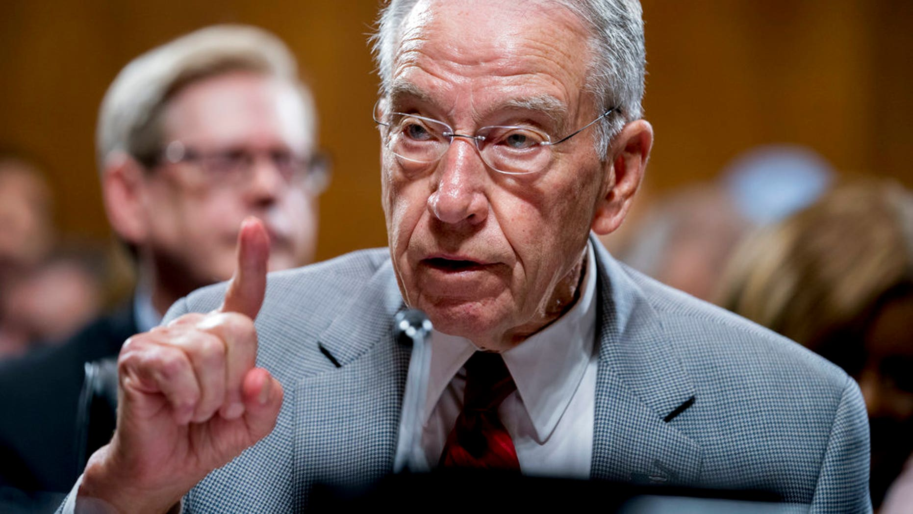 "FILE - In this Thursday, Sept. 13, 2018 file photo, Senate Judiciary Committee Chairman Chuck Grassley, R-Iowa, speaks during a Senate Judiciary Committee markup meeting on Capitol Hill, in Washington. Senate Republicans are bringing in Arizona prosecutor Rachel Mitchell to handle questioning about Christine Blasey Ford's allegations of sexual assault against Kavanaugh at the Senate Judiciary Committee hearing Thursday, Sept. 27, 2018. A news release from Grassley's office describes Mitchell as ""a career prosecutor with decades of experience prosecuting sex crimes."" (AP Photo/Andrew Harnik, File)"