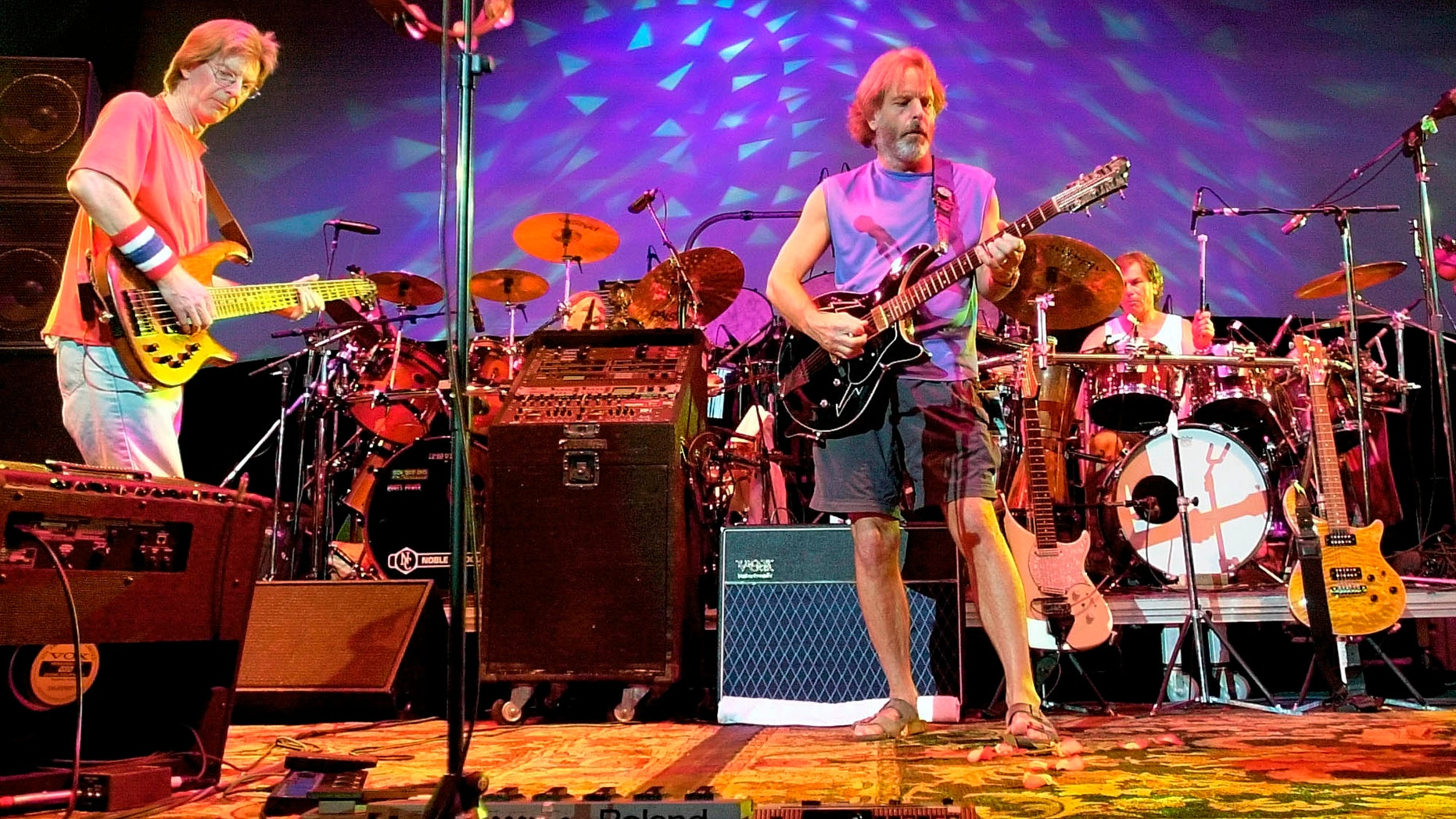 Aug. 3, 2002.The Grateful Dead, from left, Phil Lesh, Bill Kreutzmann, Bob Weir and Mickey Hart perform during a reunion concert in East Troy, Wis.