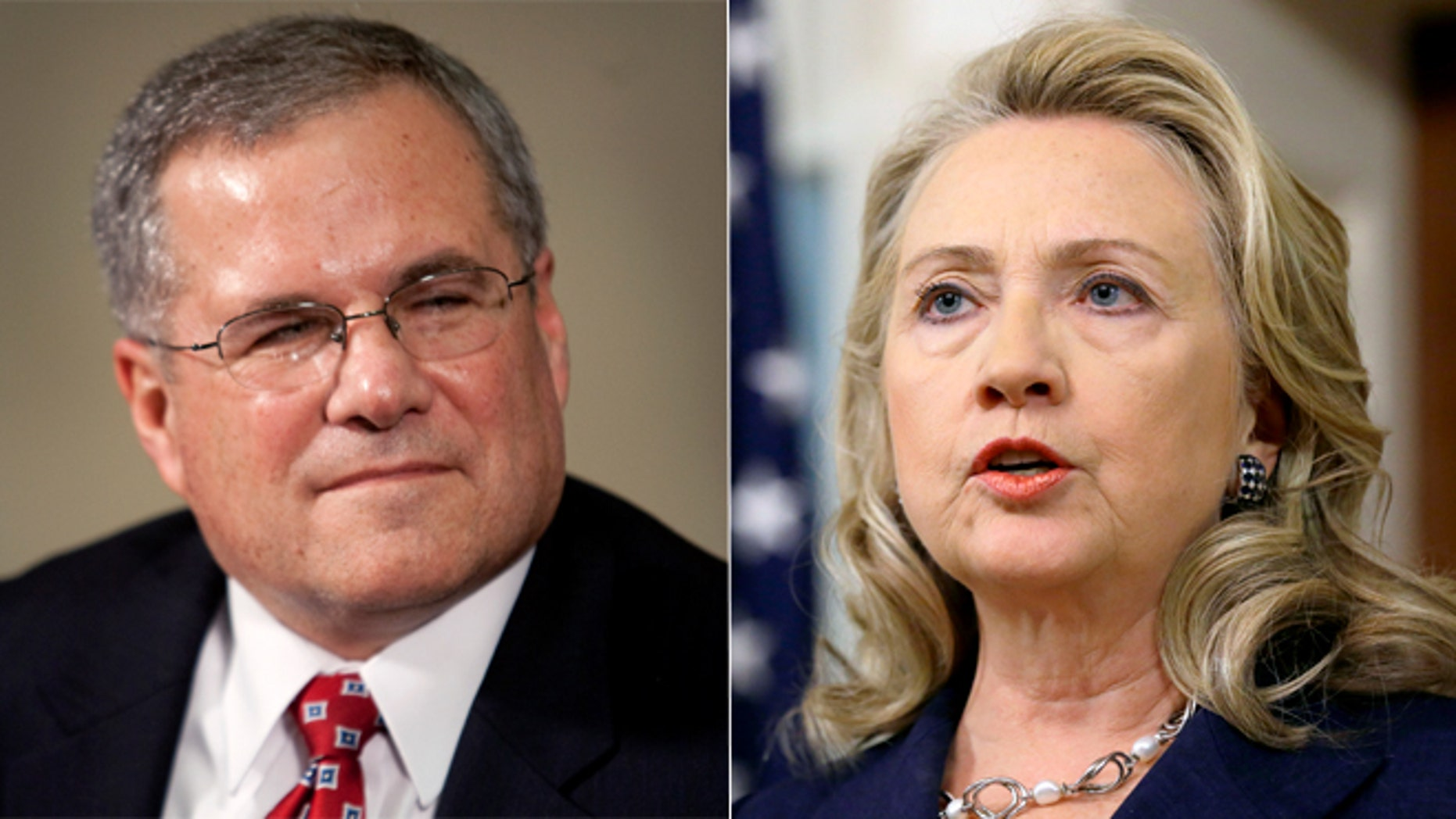Shown here are Scott Gration, former ambassador to Kenya, left, and former Secretary of State Hillary Clinton.