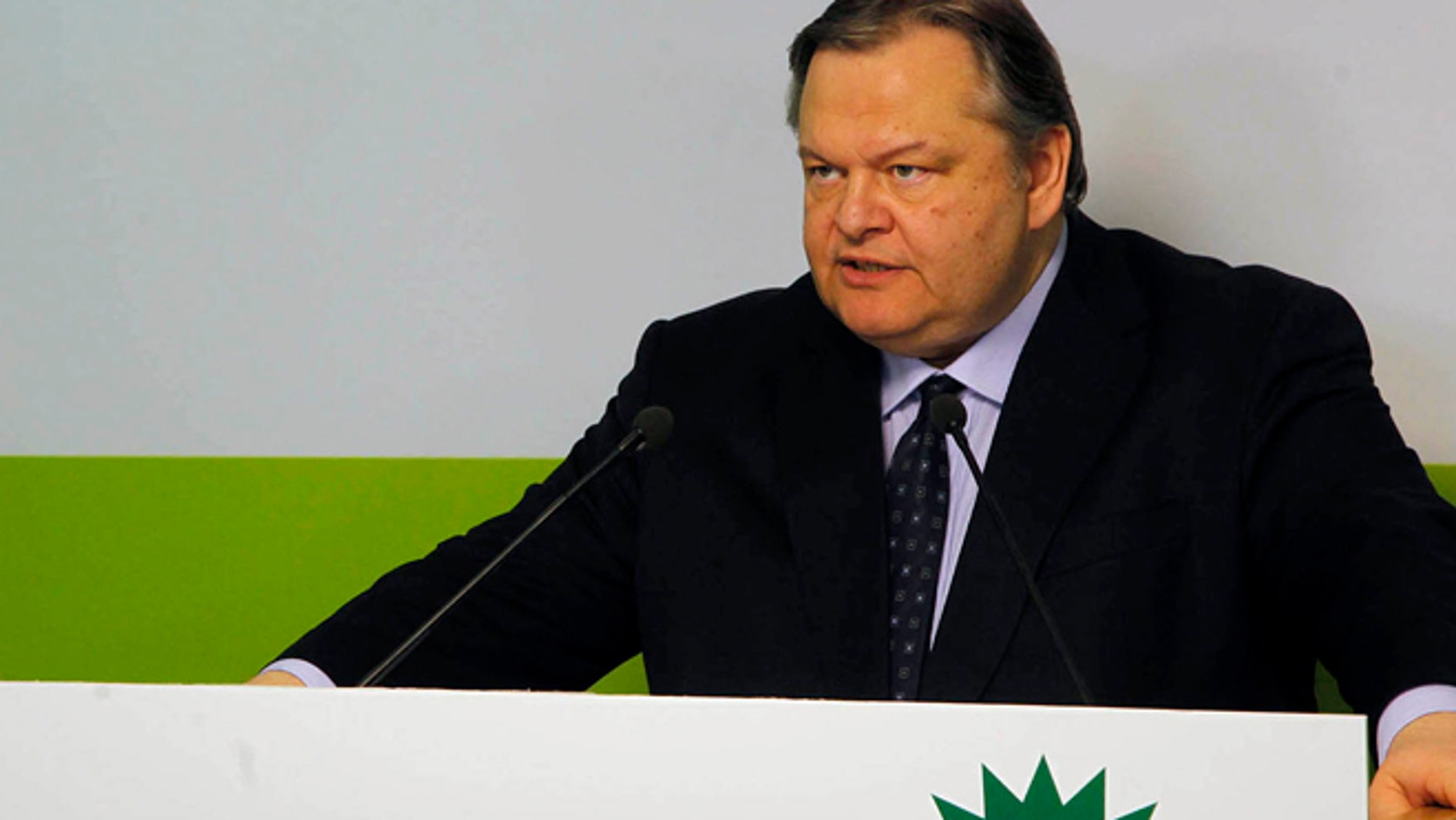 May 6, 2012: Greece's socialist leader, Evangelos Venizelos of the PASOK party makes statements in Athens.