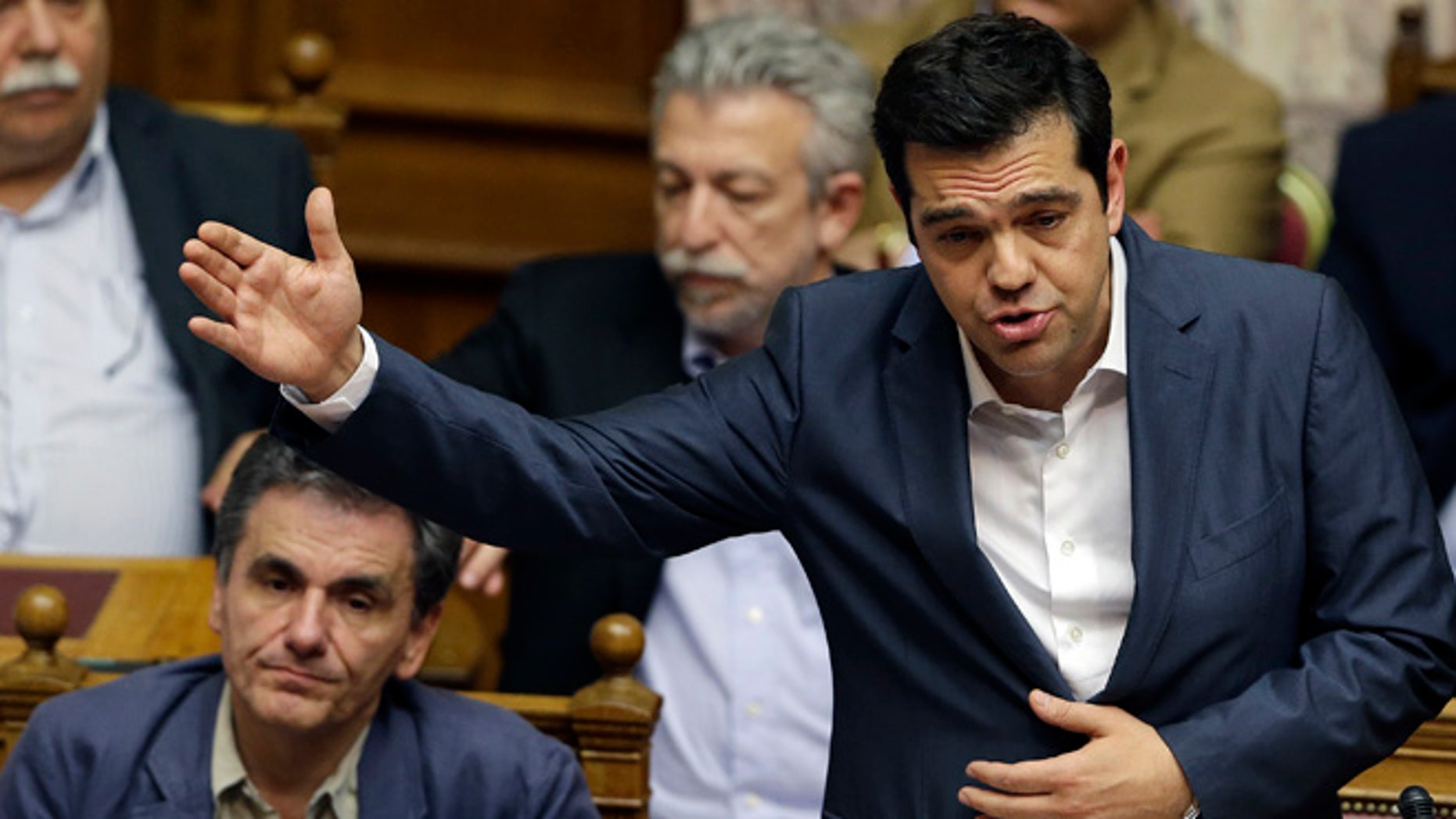 July 16, 2015: Greece's Prime Minister Alexis Tsipras delivers a speech during a parliament meeting in Athens. (AP)