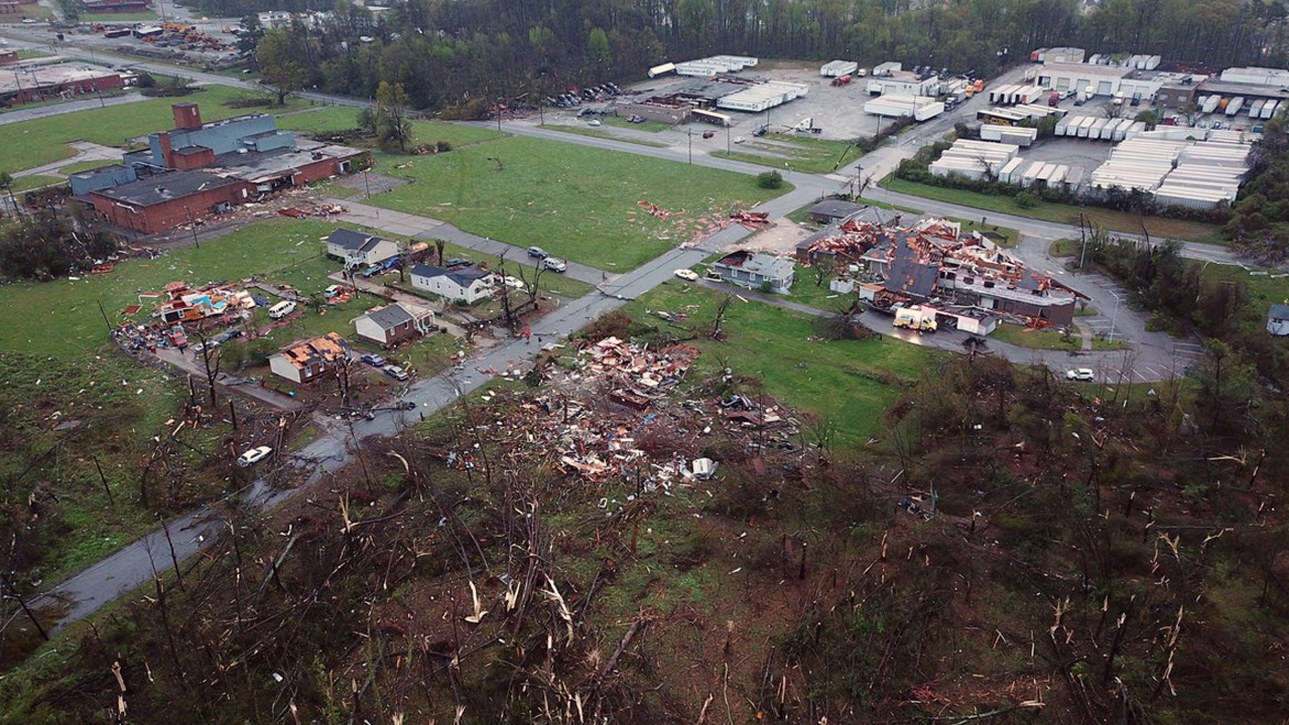 Tornado damage in Greensboro, N.C. is seen in this aerial view Sunday.