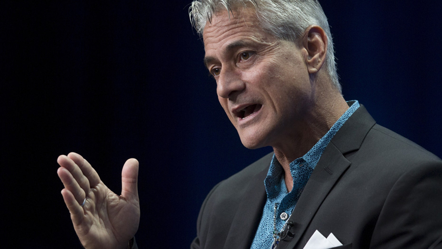 """Olympic diver Greg Louganis appears for the HBO """"On the Board Again: Greg Louganis"""" presentation in the cable portion of the Television Critics Association Summer Press Tour in Beverly Hills, California July 30, 2015."""