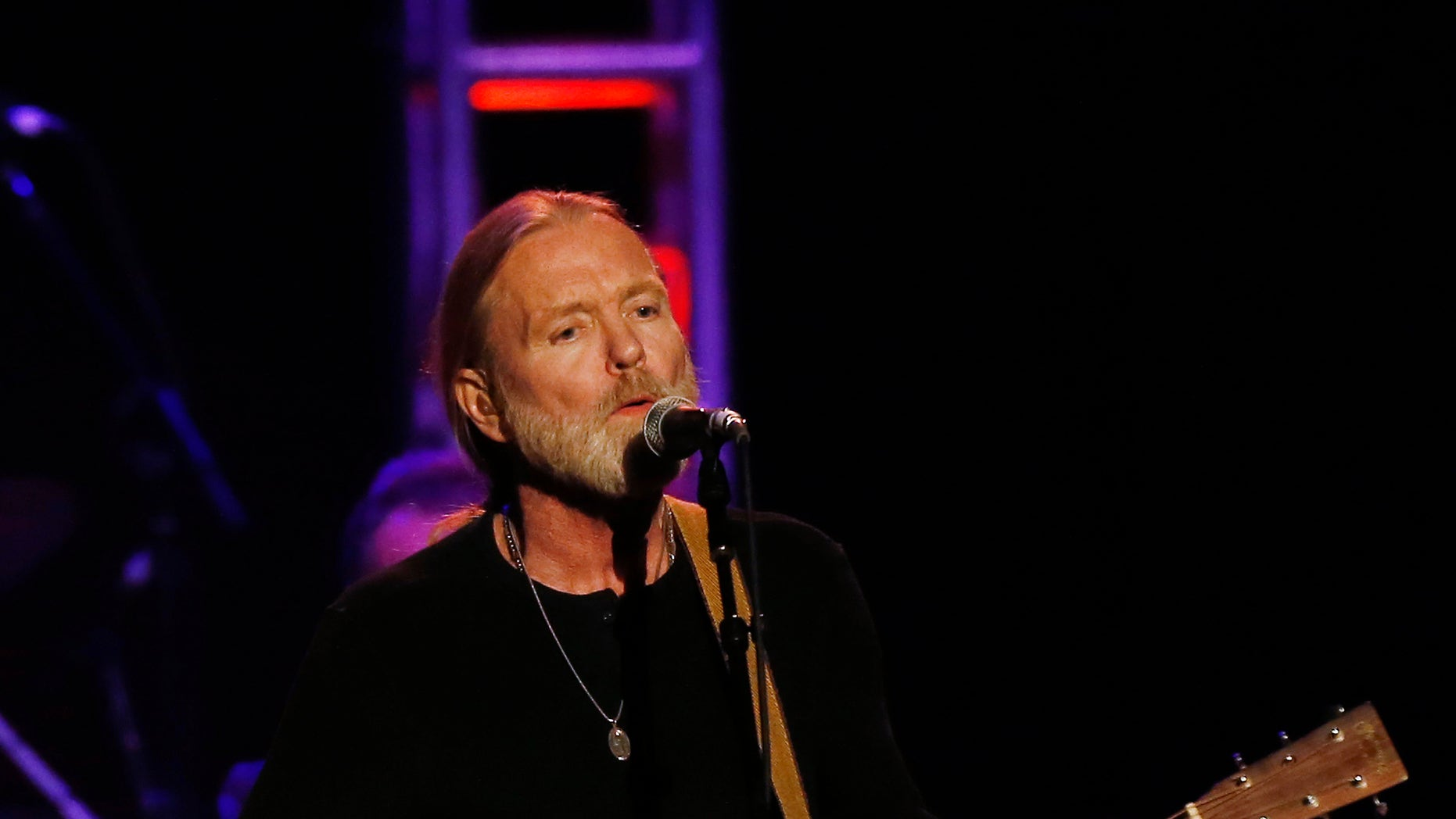 """October 3, 2012. Musician Gregg Allman performs during the """"Love for Levon"""" charity event at the Izod Center in East Rutherford, New Jersey."""