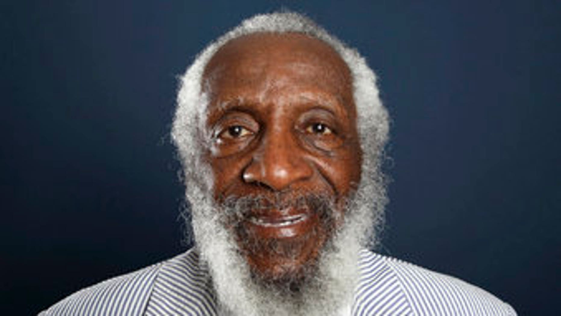 Comedian and activist Dick Gregory poses for a portrait during the PBS TCA Press Tour in Beverly Hills, Calif., in 2012.   (Photo by Matt Sayles/Invision/AP, File)