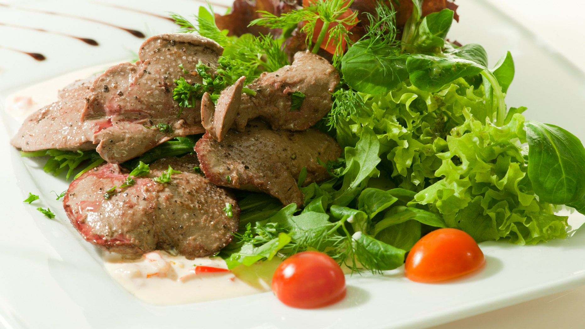 Main course: Grilled liver with a side salad.