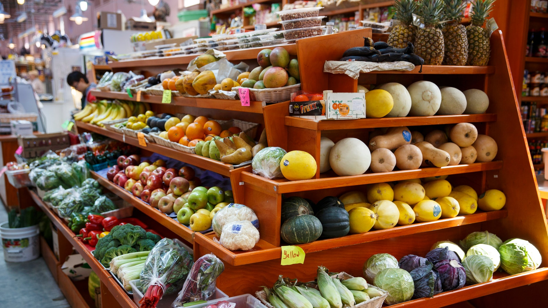 In this April 24, 2014 file photo, a variety of healthy fruits and vegetables are displayed for sale at a market in Washington. (AP Photo/J. Scott Applewhite, File)