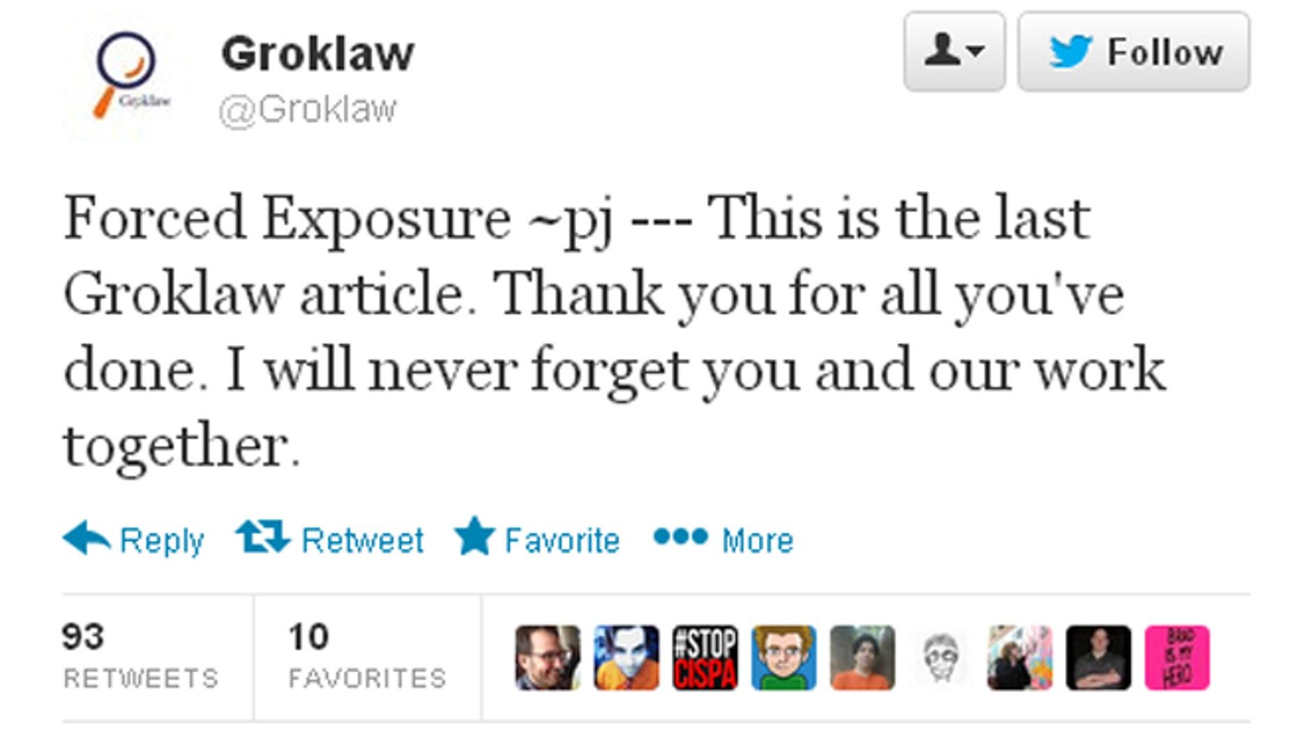 Groklaw's founder Pamela Jones announcing her last article on the popular law blog via Twitter.