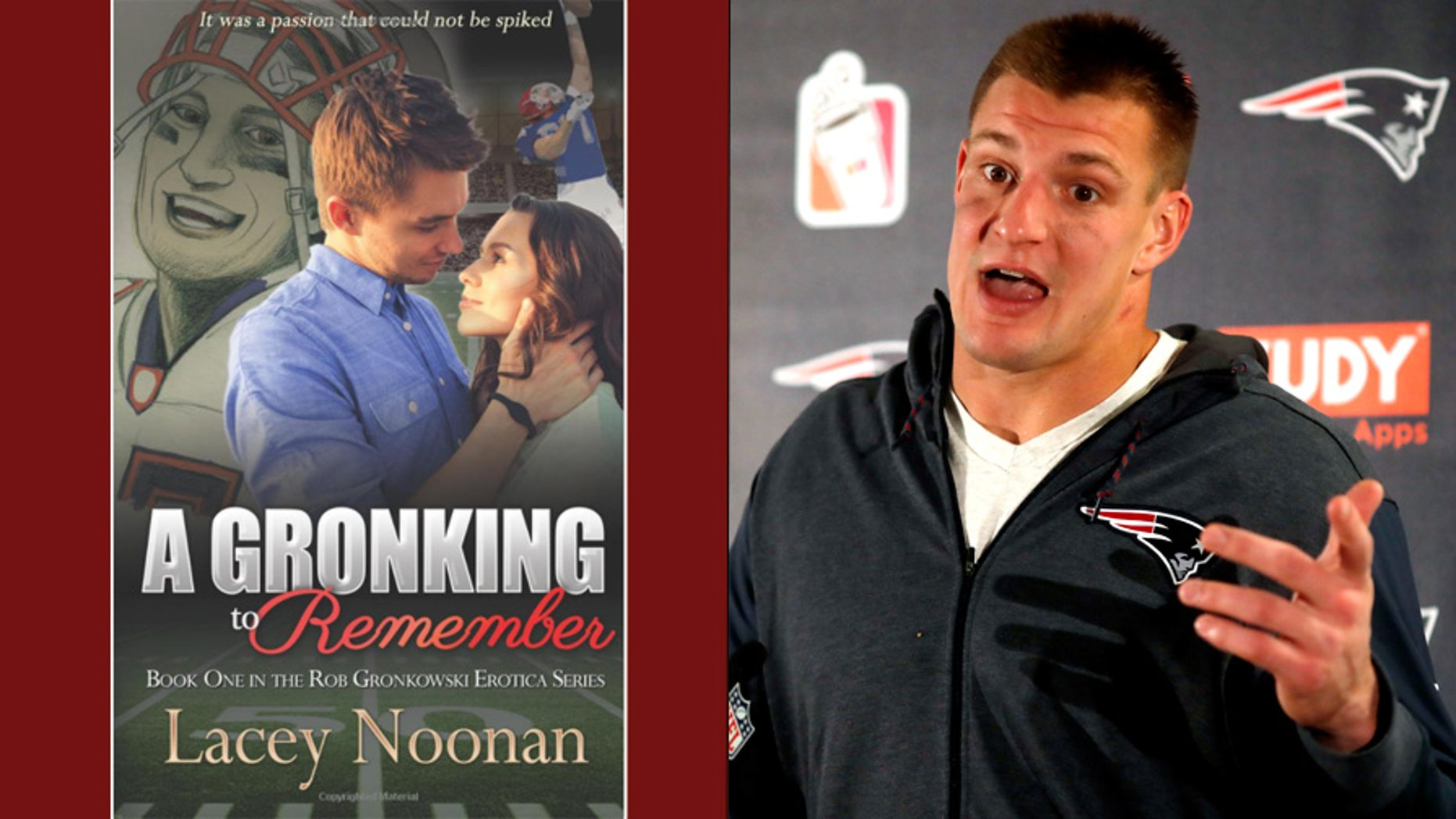 'A Gronking to Remember,' left, a work of erotic fiction inspired by New England Patriots player Rob Gronkowski, right, was the subject of a lawsuit over the cover art.
