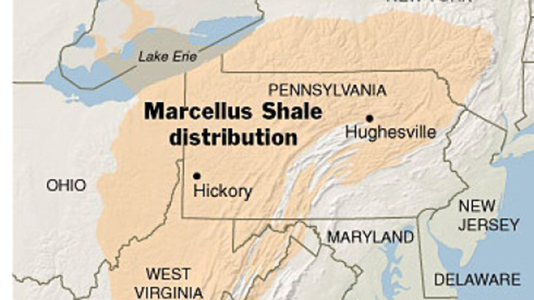 The vast Marcellus shale deposit spans below portions of six different U.S. states.