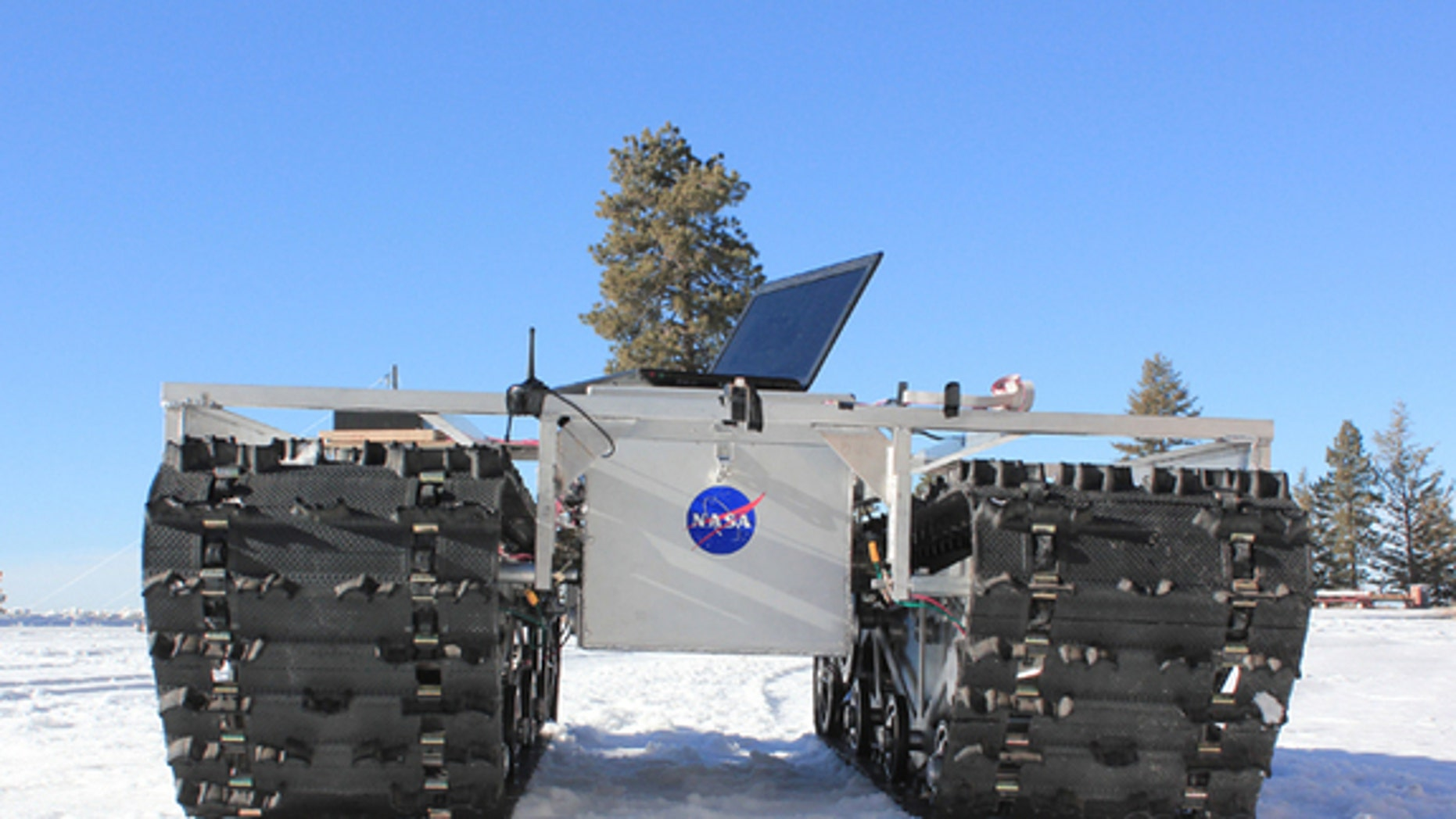 A prototype of GROVER, minus its solar panels, was tested in January 2012 at a ski resort in Idaho. The laptop in the picture is for testing purposes only and not part of the final product.