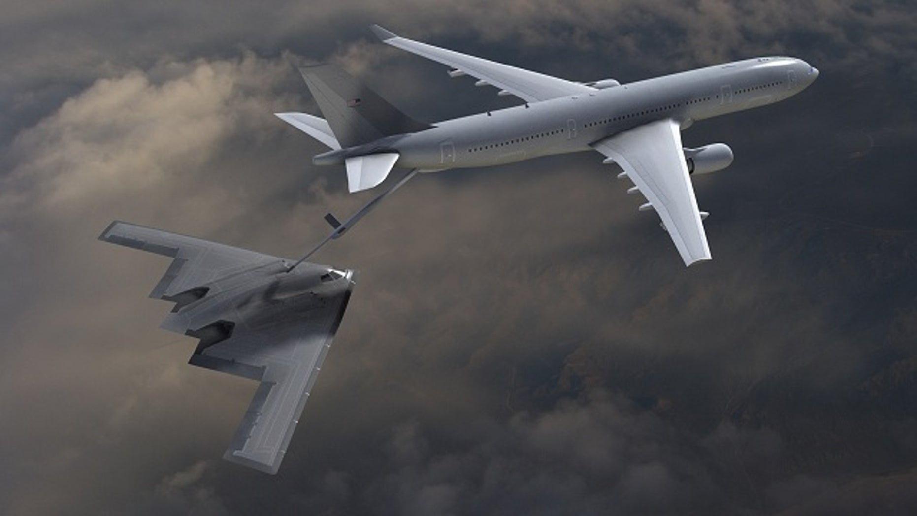The KC-45 is derived from the A330 widebody twin-engine passenger jet, and can refuel the military's aircraft in flight.