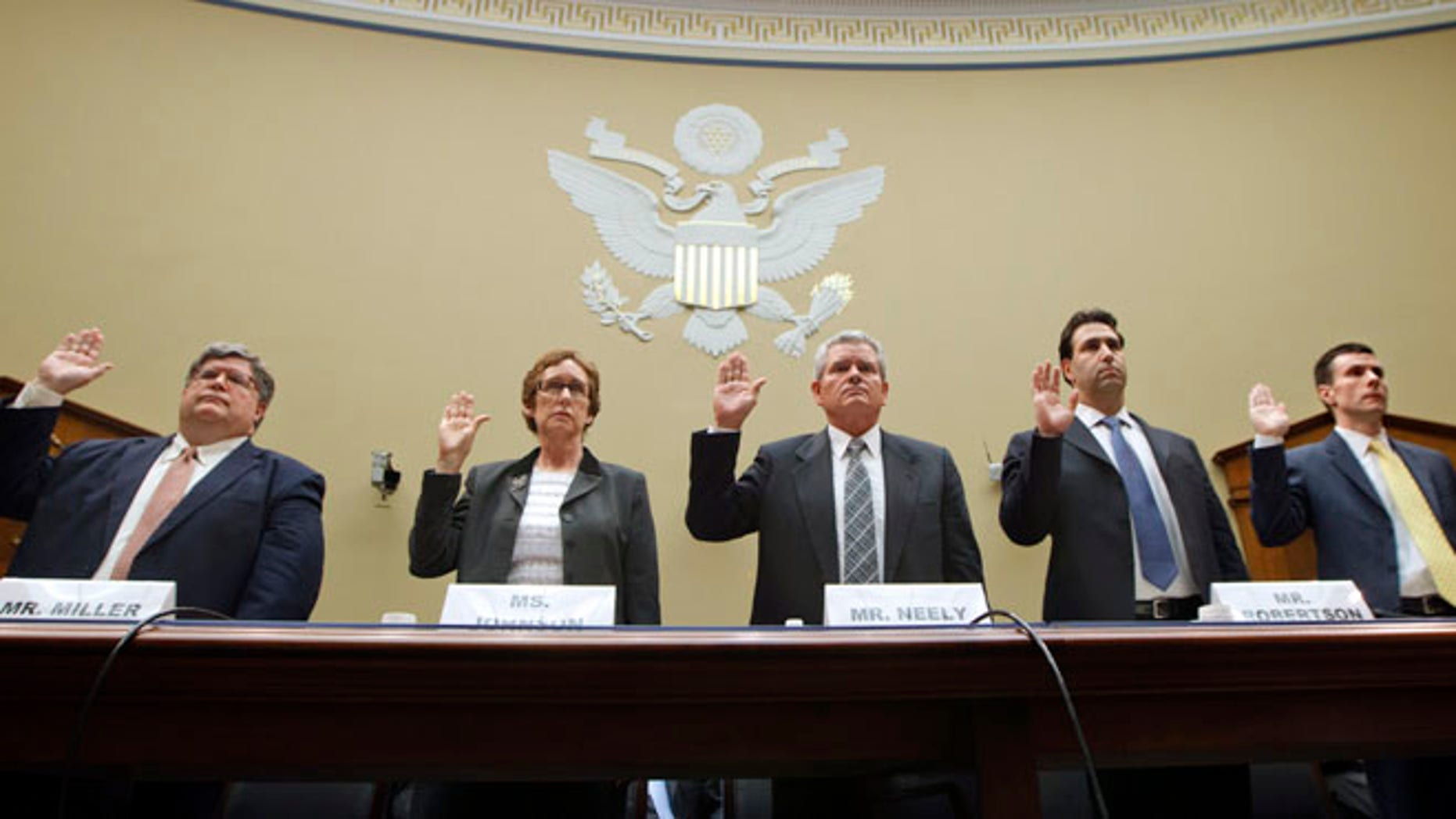 April 16, 2012: Witnesses prepare to testify on Capitol Hill about GSA spending. The former agency commissioner Jeff Neely is third from the left.