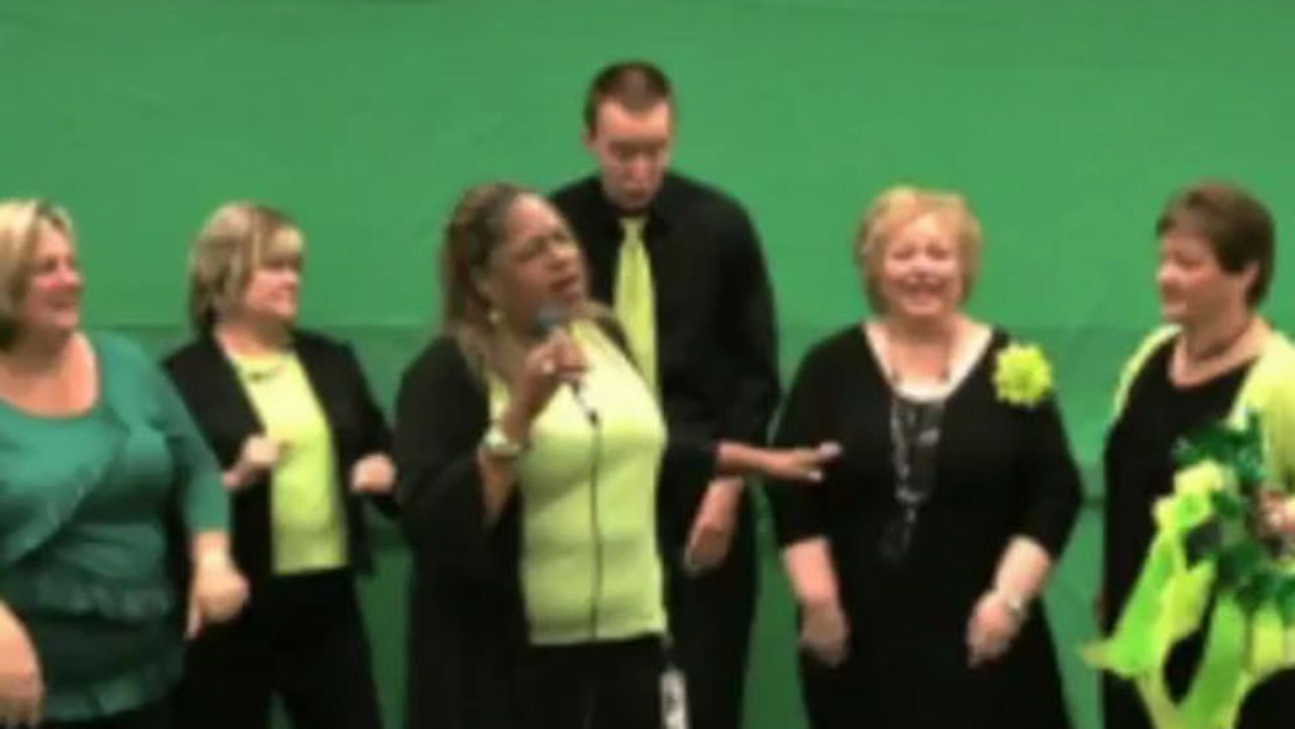 Shown here is an image from one of the mock music videos made for a General Services Administration conference in 2010.