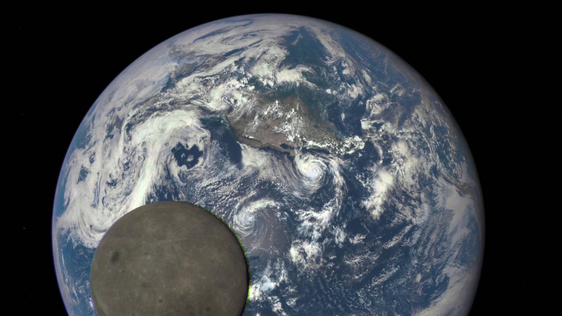 The length of Earth's day is slowing down at a glacial pace of 1.8 milliseconds every 100 years. This image shows the Earth and moon as seen by NASA's Deep Space Climate Observatory satellite 1 million miles away.