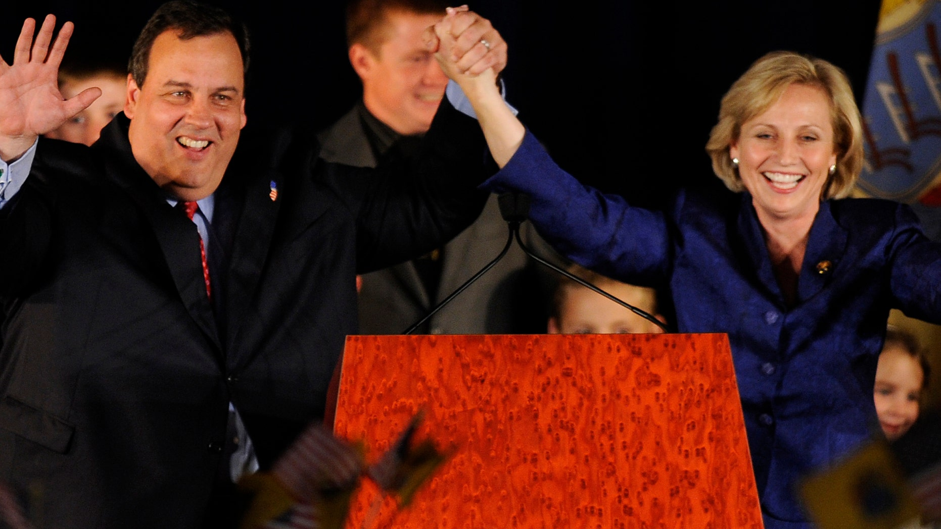 Governor Chris Christie and Lt. Governor Kim Guadagno on November 3, 2009 in Parsippany New Jersey.