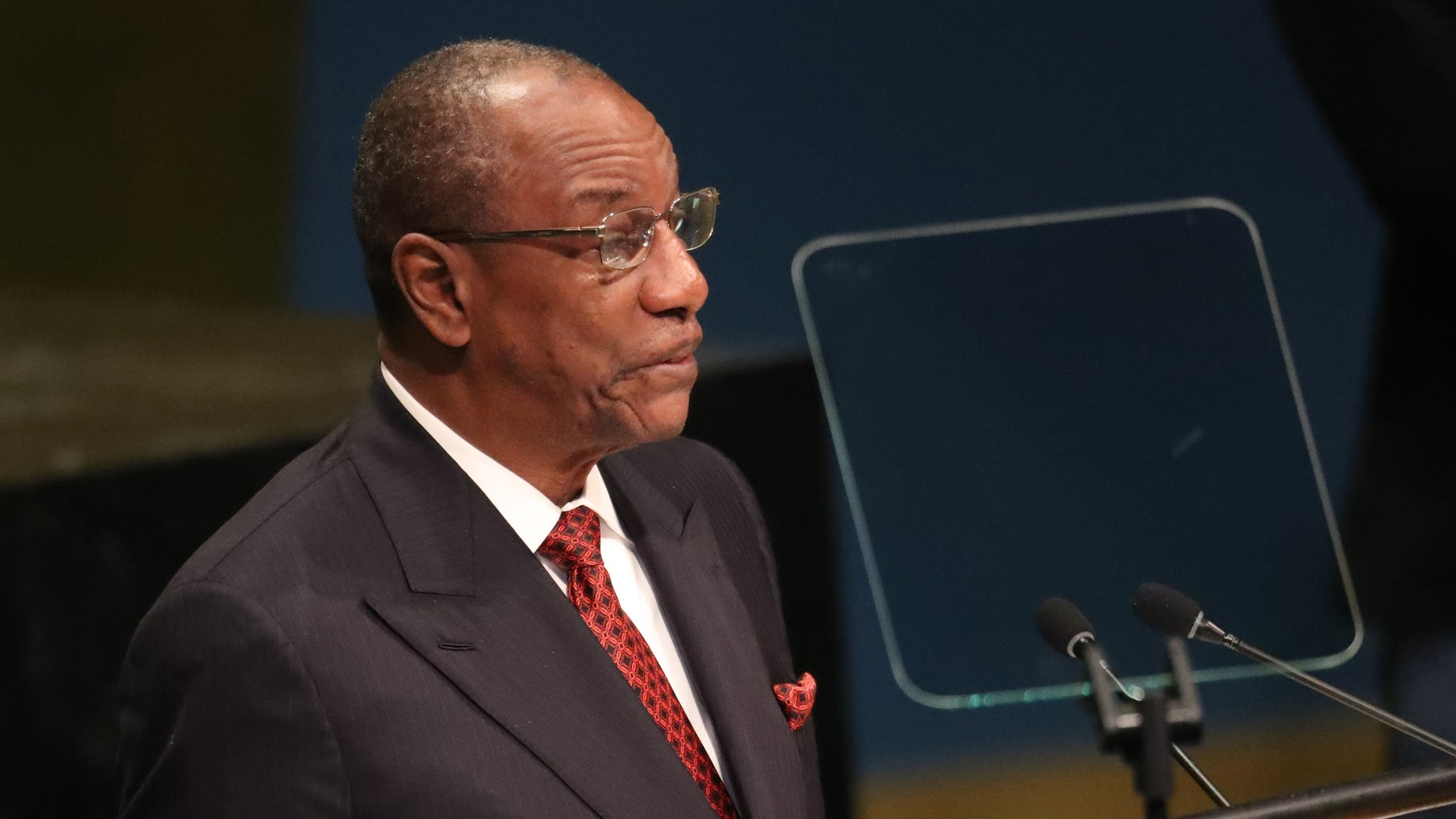 President Alpha Conde of Guinea addresses the 71st United Nations General Assembly in Manhattan, New York, U.S.