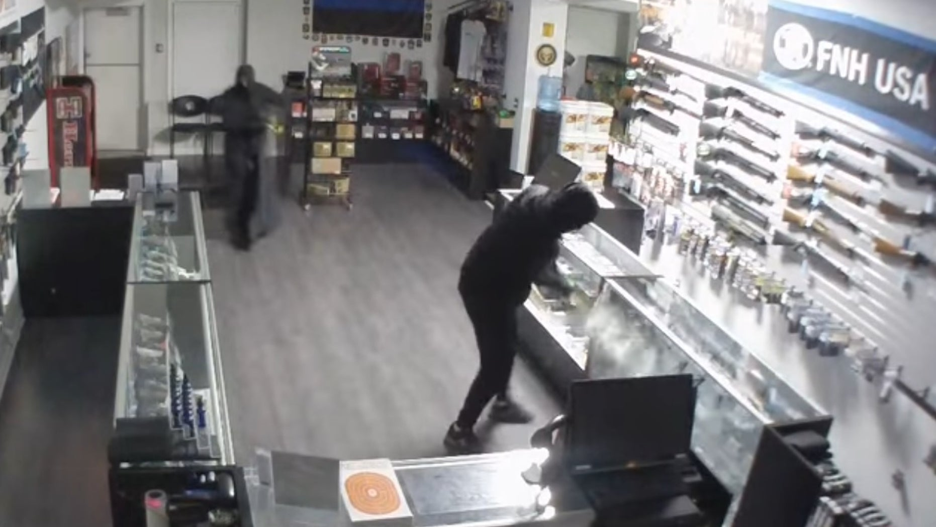 Surveillance video captured the smash-and-grab.