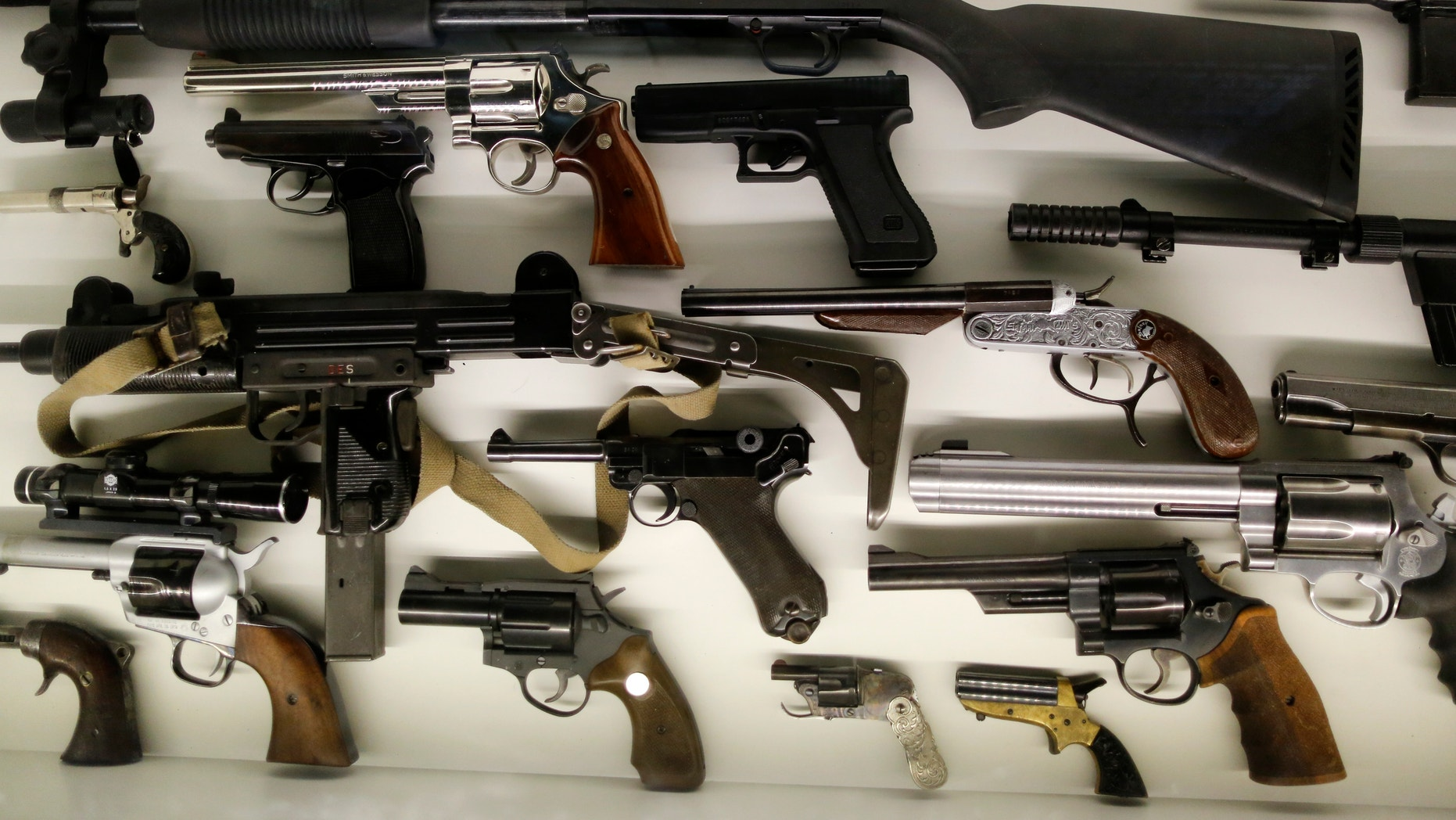 Different kinds of arms are seen on display at the 'Top Secret' Spy Museum in Oberhausen, July 10, 2013.