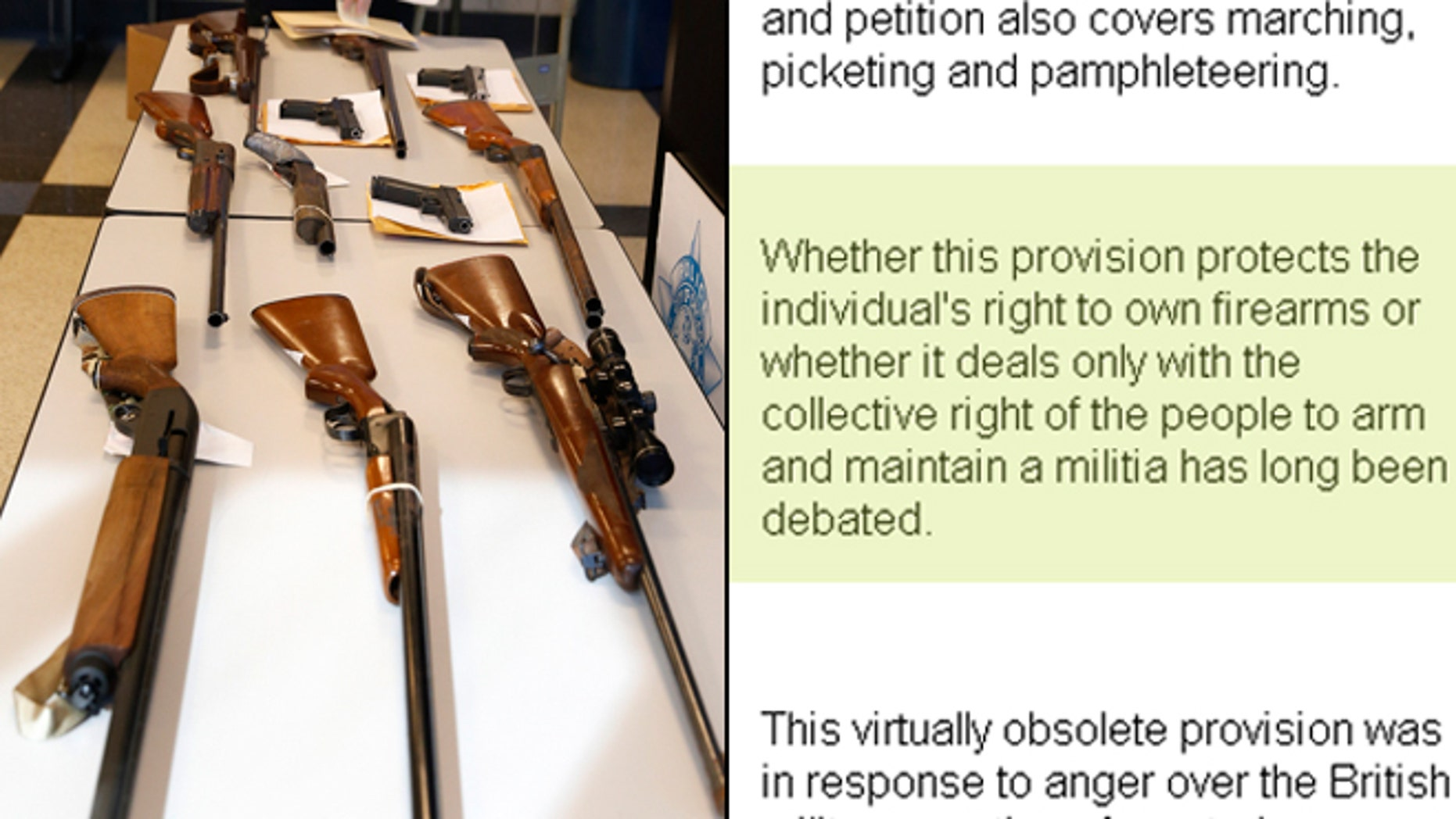 Shown, at right, is a screen shot of the Senate web entry on the 2nd Amendment. The controversial passage is highlighted.