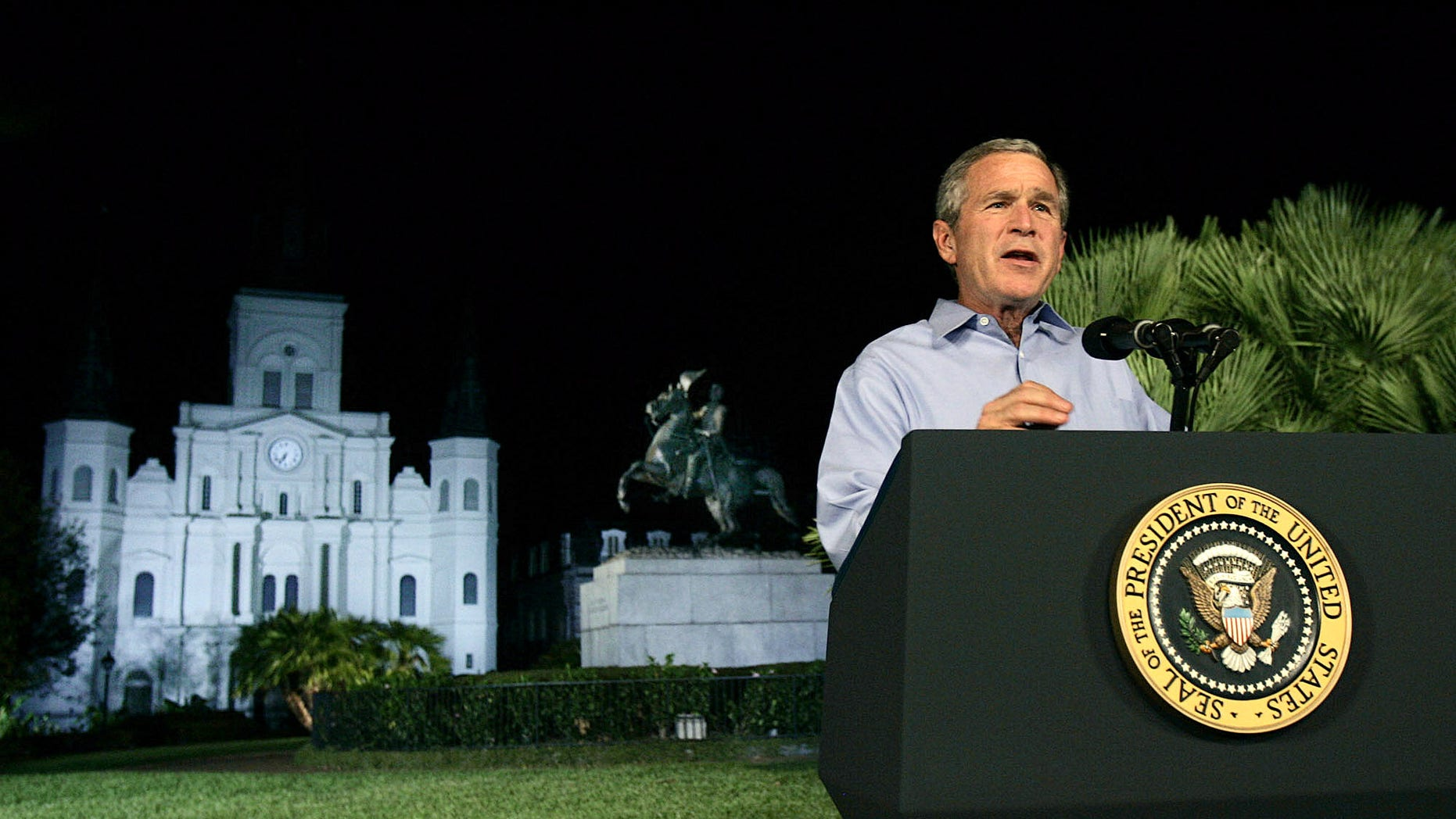 FILE -- Sept. 15, 2005: President Bush speaks from Jackson Square in New Orleans where he announced a new reconstruction plan to help rebuild the area damaged by Hurricane Katrina.