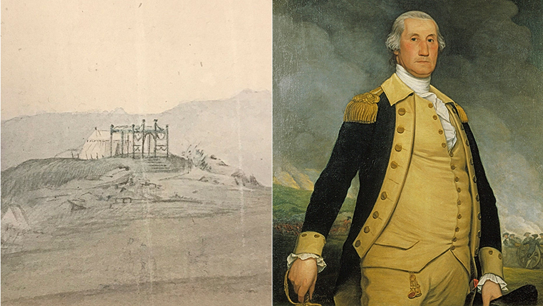 Close-up detail of the watercolor depicting George Washington's field tent (Courtesy of the Museum of the American Revolution) and portrait of George Washington by Joseph Wright, 1784. (Courtesy of the Philadelphia History Museum at the Atwater Kent, the Historical Society of Pennsylvania Collection)