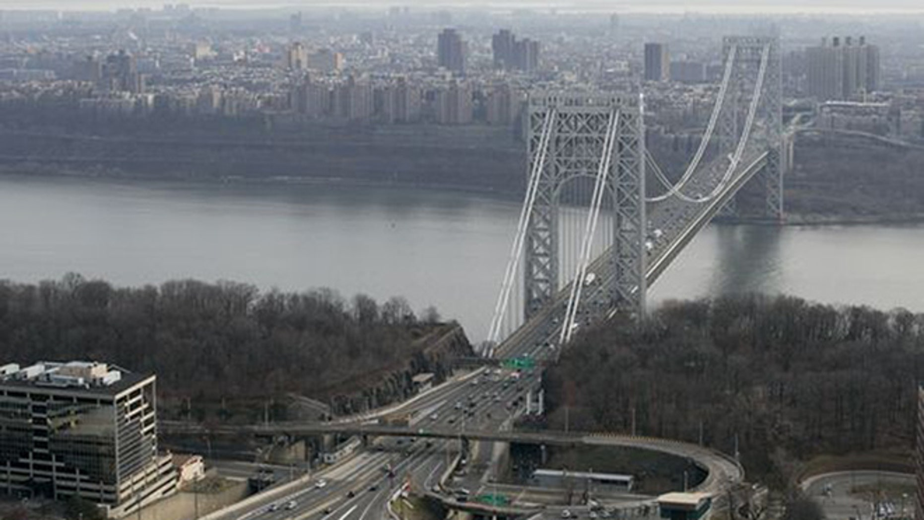 The George Washington Bridge, carrying I-95, US-1 and US-9 across the Hudson River between New Jersey and New York, is shown in this AP photo.  (Associated Press)