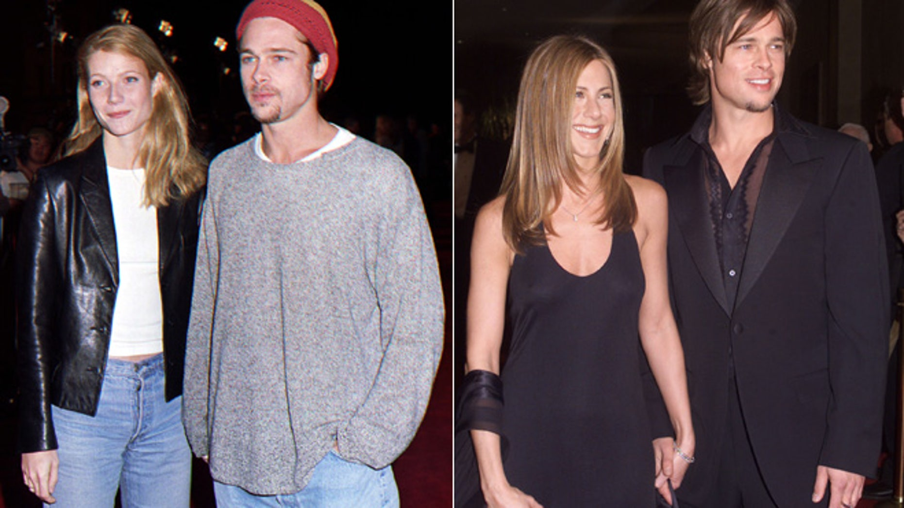 Gwyneth Paltrow, left, and Jennifer Aniston, right, appear with Brad Pitt.