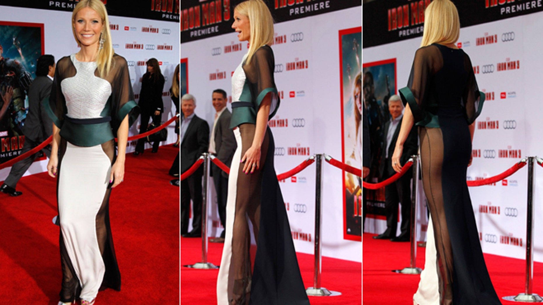 "Cast member Gwyneth Paltrow poses at the premiere of ""Iron Man 3"" at El Capitan theatre in Hollywood, California April 24, 2013."