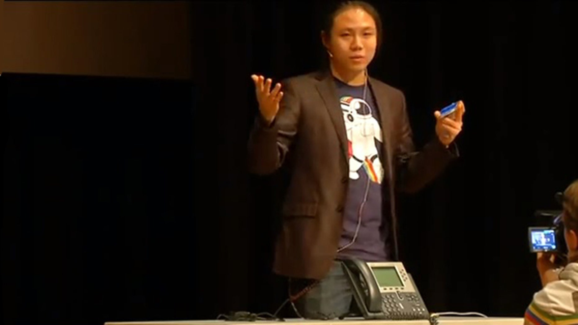 Columbia University graduate student Ang Cui demonstrates a serious vulnerabilities in Cisco VoIP phone technology.