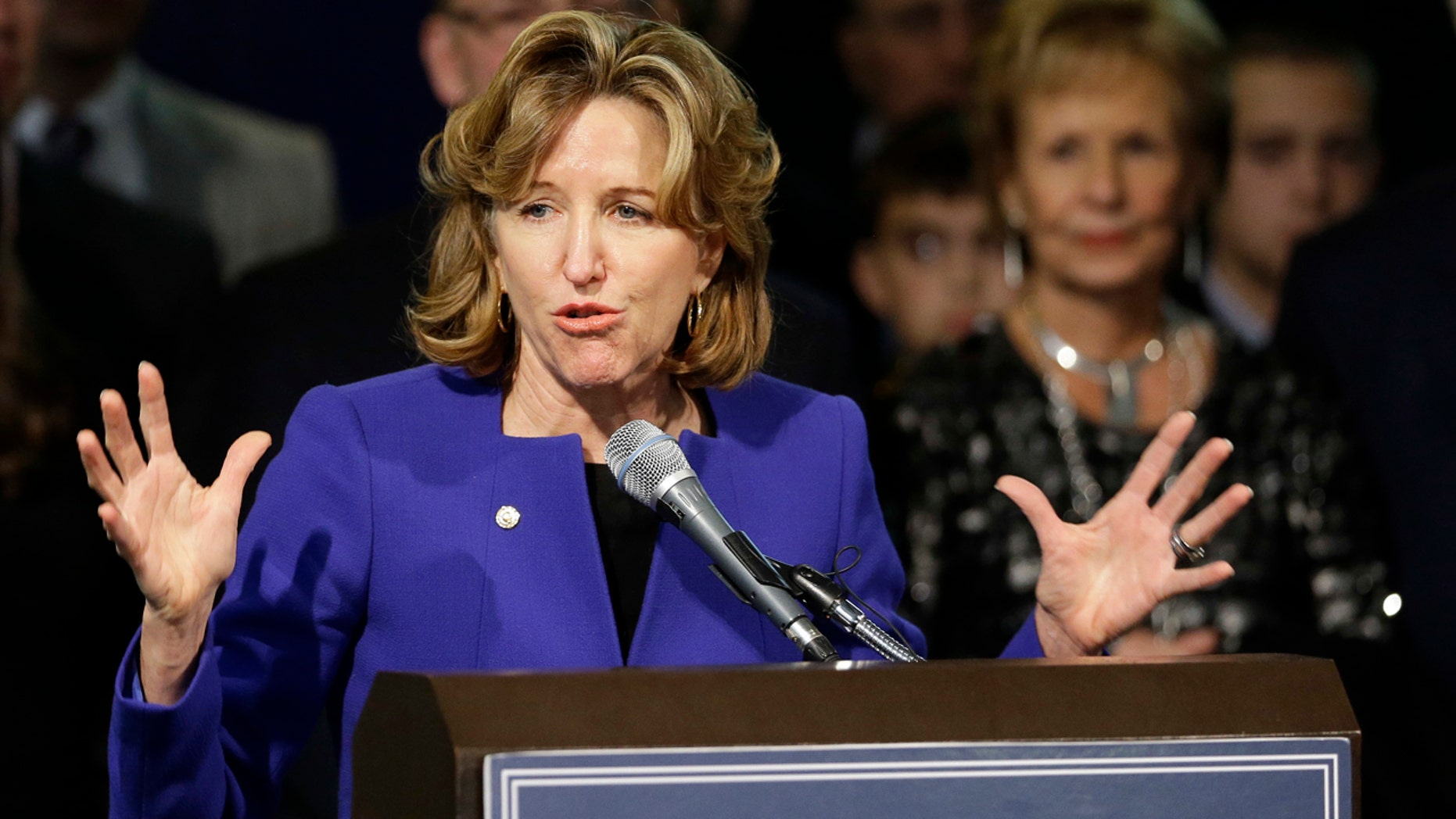 FILE - IN this Nov. 4, 2014 file photo, Sen. Kay Hagan, D-N.C., gives her concession speech during an election night rally in Greensboro, N.C. Hagan, has been hospitalized after falling seriously ill, according to Joe Ruthven, her brother.