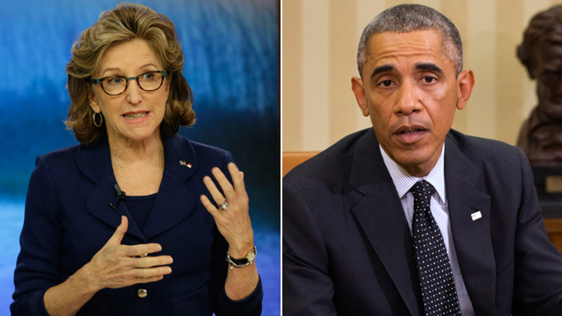In this Thursday, Oct. 9, 2014 photo, Sen. Kay Hagan, D-N.C., speaks during a debate in Wilmington, N.C., and in this Wednesday Oct. 22, 2014 photo, President Barack Obama speaks to the media in the Oval Office of the White House in Washington.