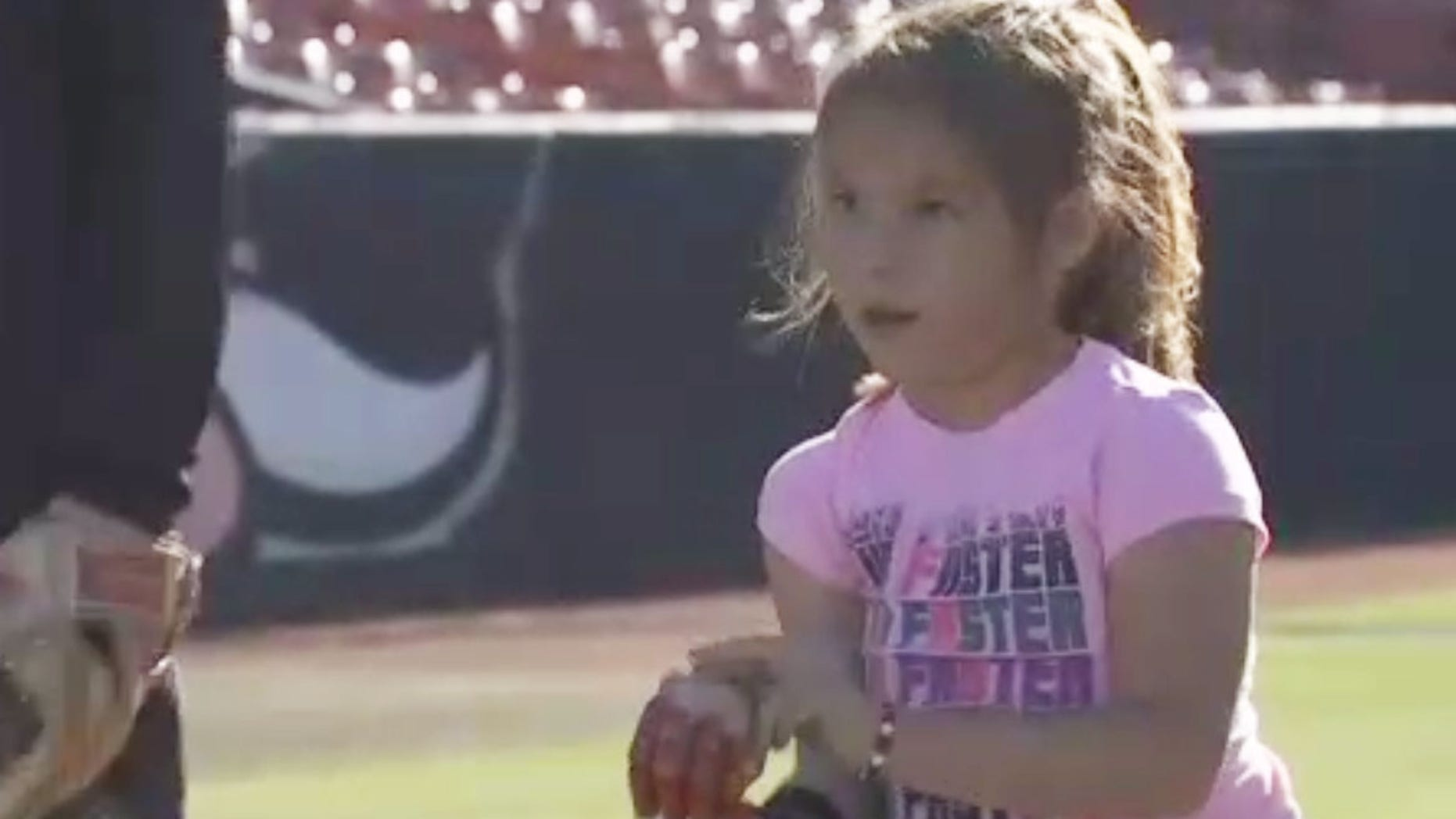 Hailey Dawson, 7, was invited to throw out the first pitch at Game 4 of the World Series.