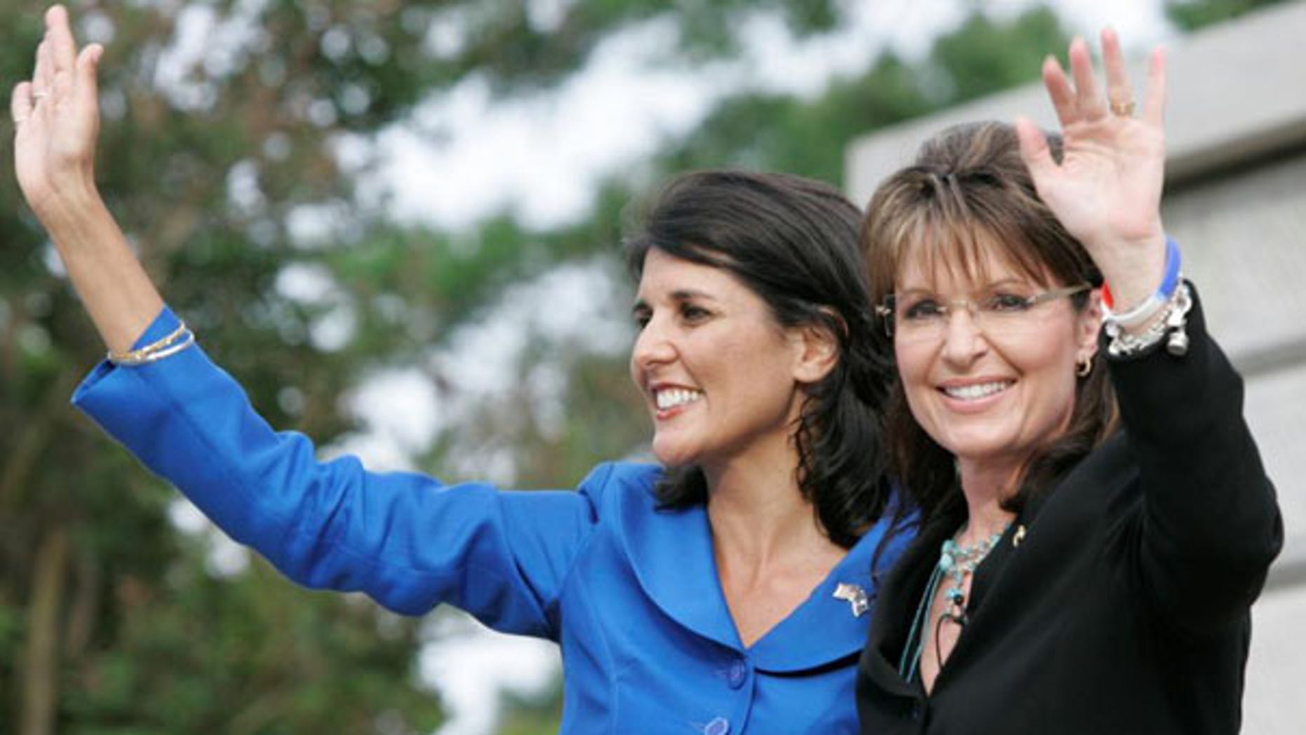 Former Alaska Gov. Sarah Palin waves as she endorses S.C. gubernatorial candidate Nikki Haley May 14 in Columbia, S.C. (AP Photo)