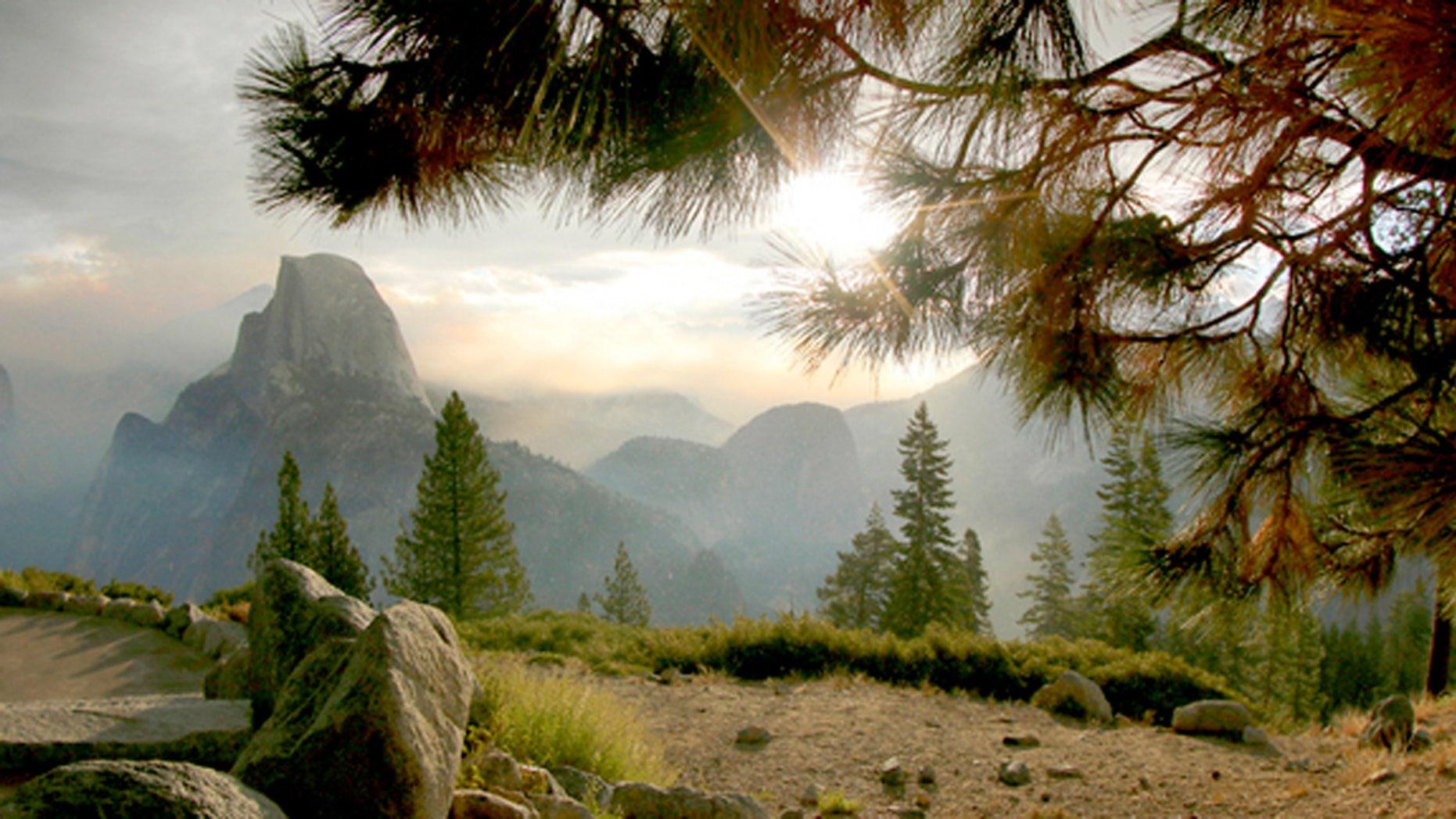 Mist over Half Dome in Yosemite National Park.
