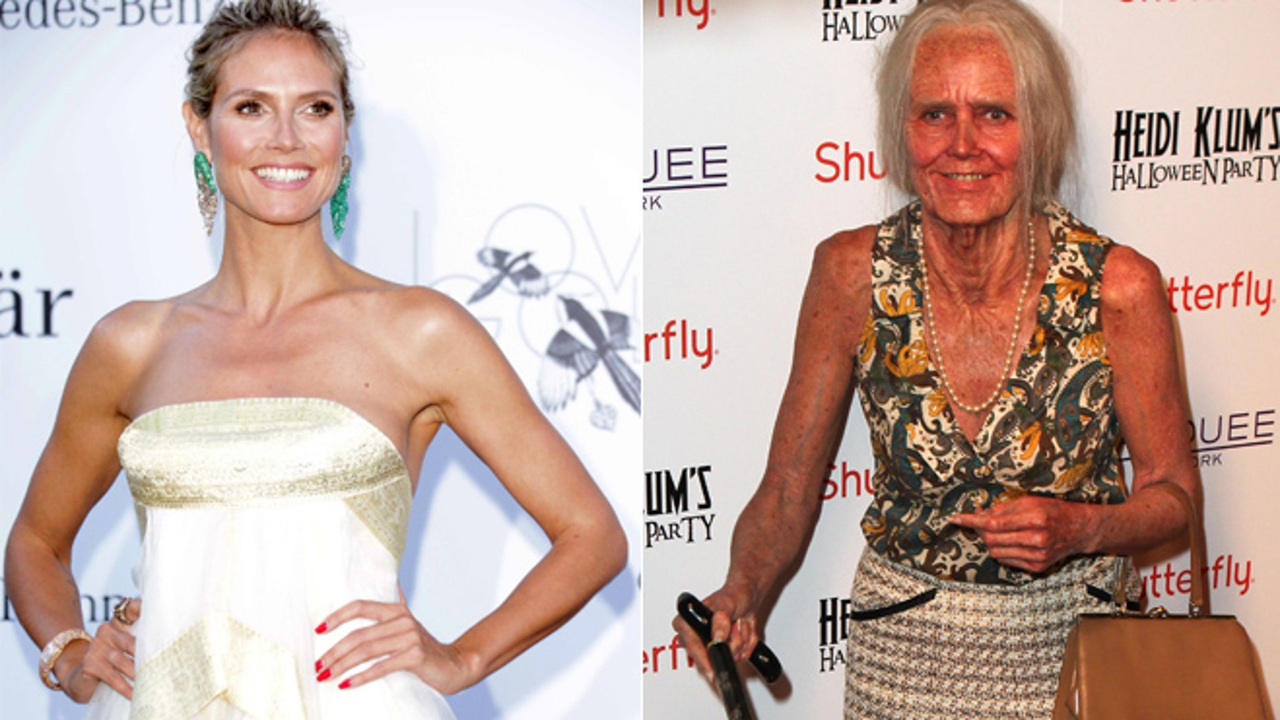 Heidi Klum dressed as an old lady for her annual Halloween party on Oct. 31, 2013.